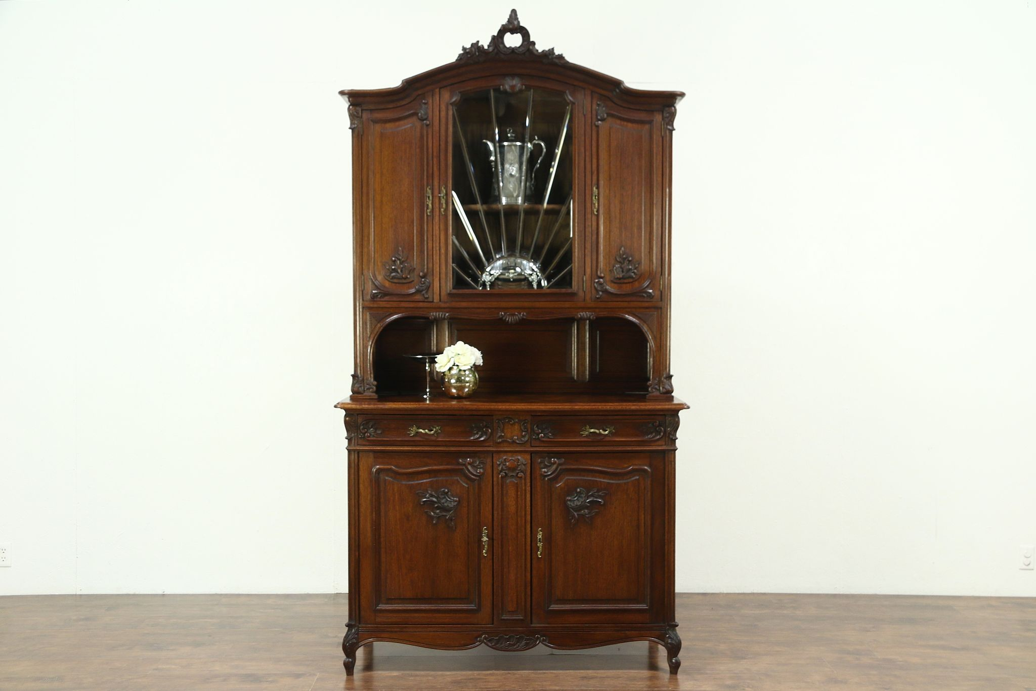 Attrayant Oak Carved Antique China Cabinet U0026 Sideboard, Leaded Beveled Glass, ...