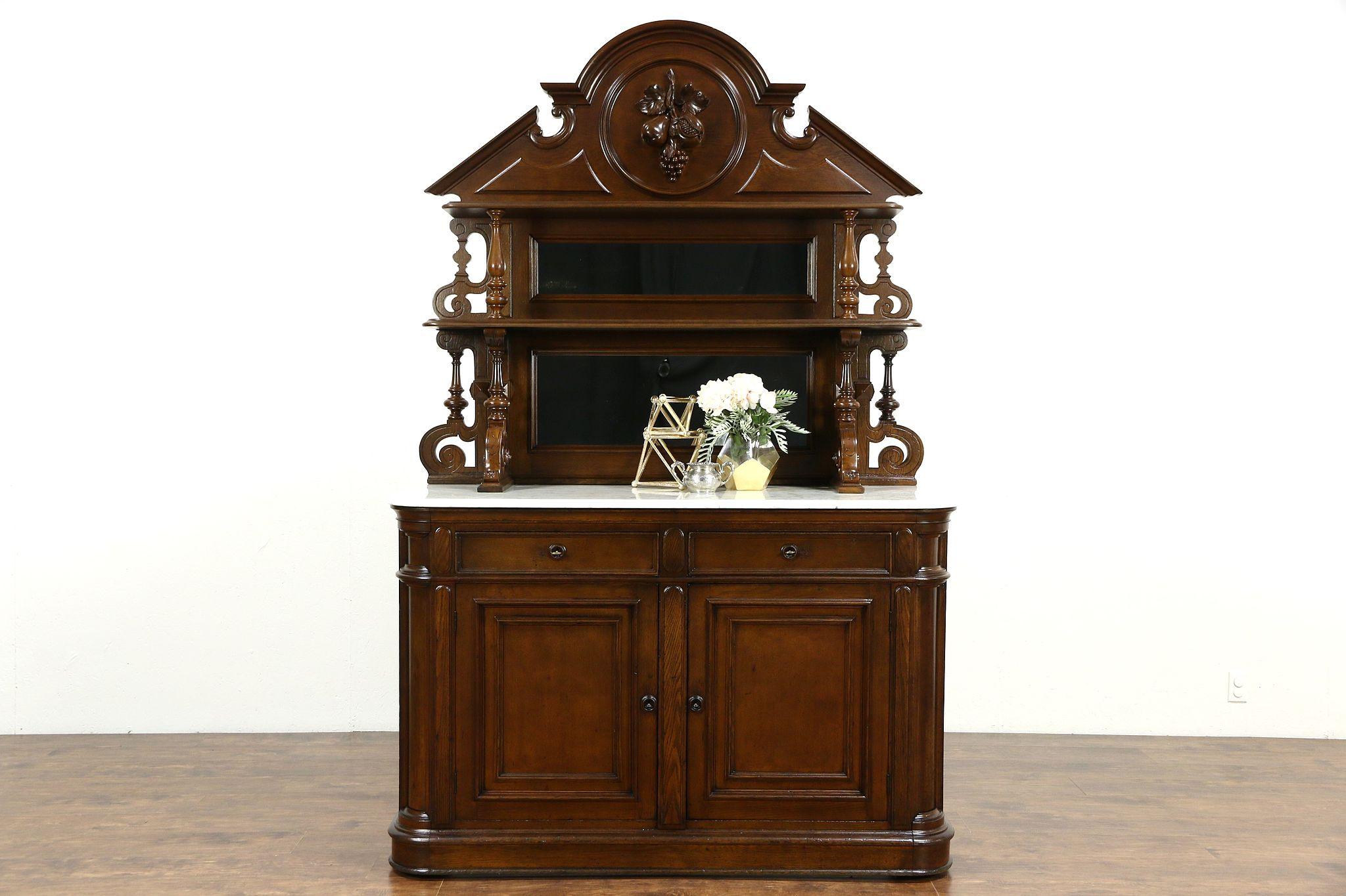 Sold Victorian Grape Carved Oak Antique 1870 Sideboard