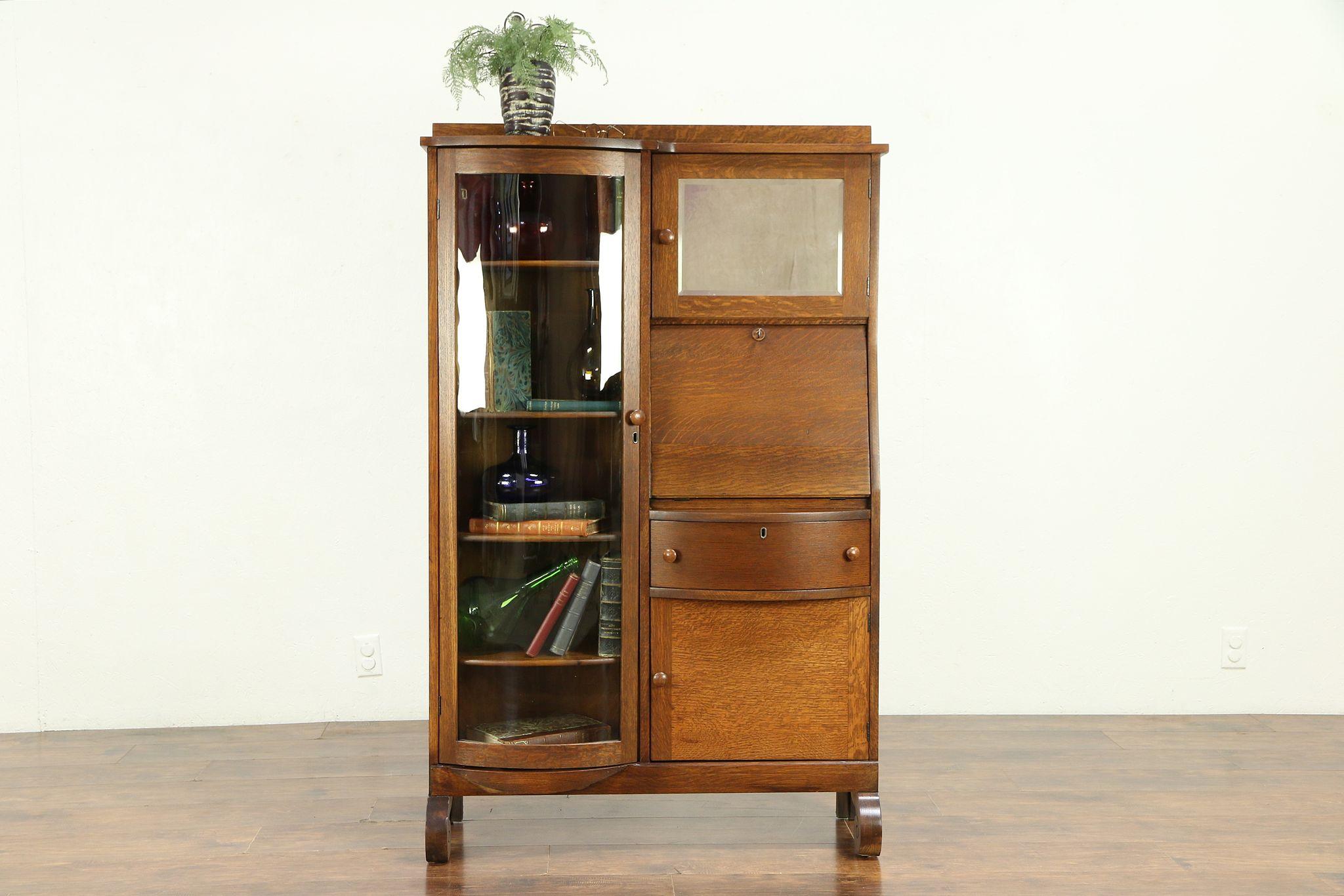 Sold Oak Antique Side By Side Secretary Desk Bookcase Curved