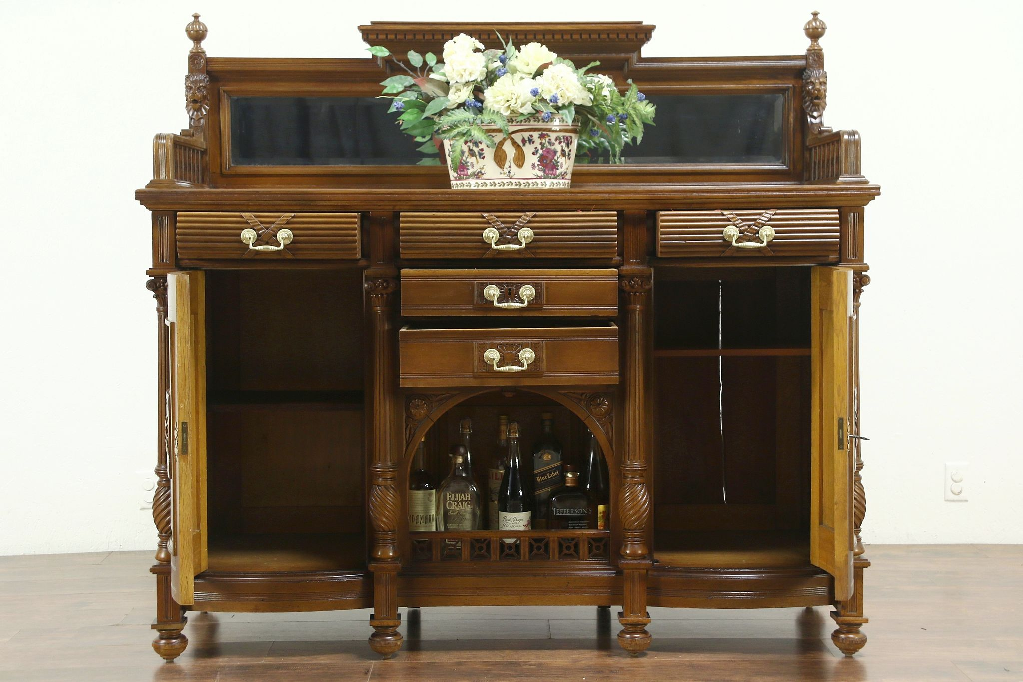 Oak Antique Carved Lion Sideboard Server Buffet Or Back Bar Rh Harpgallery Com With Mirror