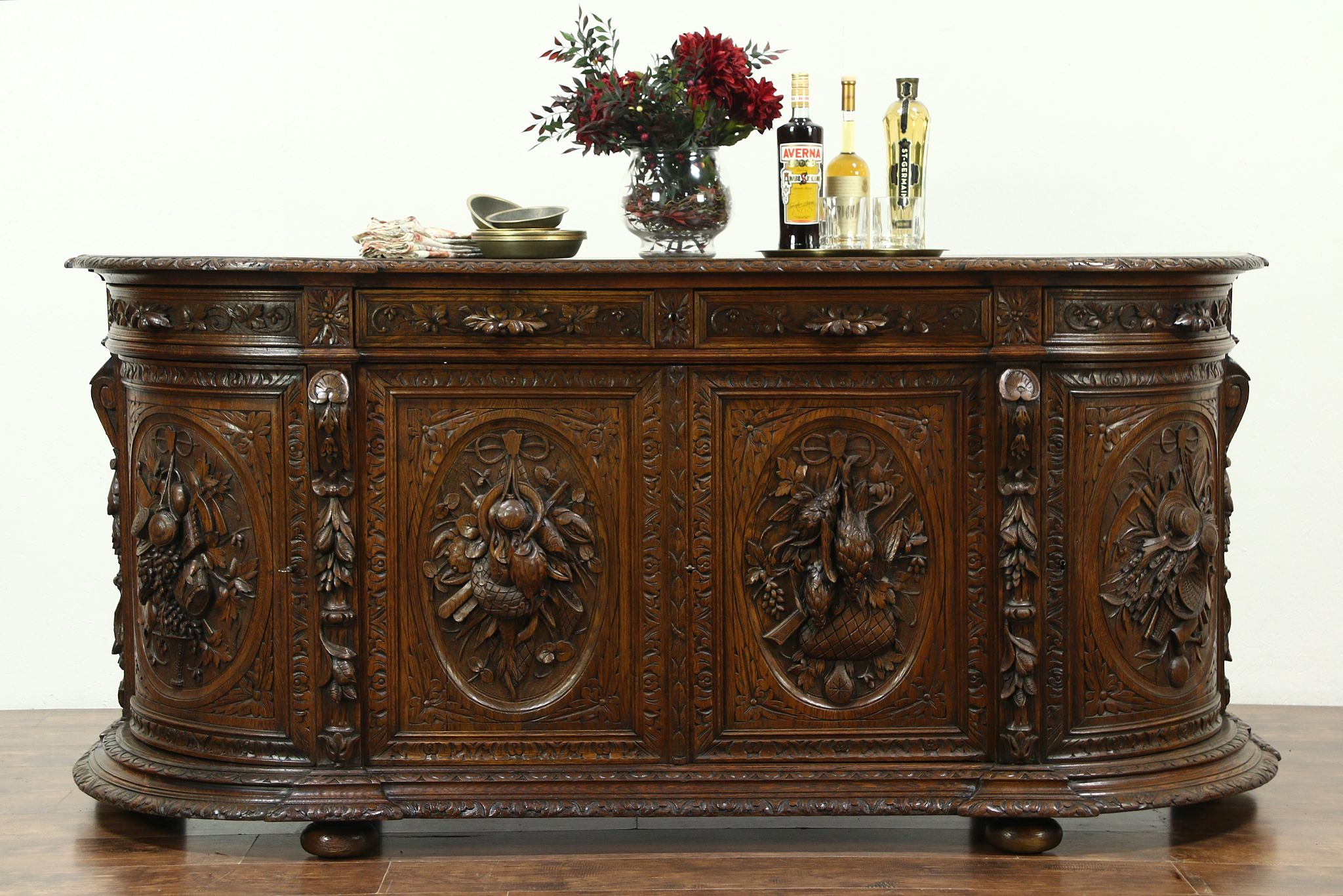 Picture of: Sold Oak Antique Sideboard Server Or Buffet Carved Birds Black Forest 28593 Harp Gallery Antiques Furniture