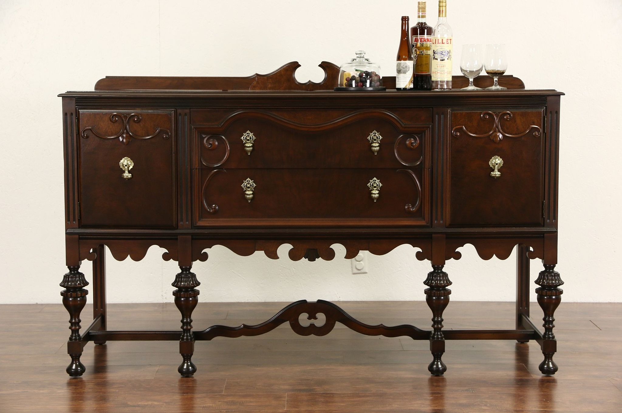 sold english tudor 1920 antique walnut sideboard server or buffet harp gallery antique furniture. Black Bedroom Furniture Sets. Home Design Ideas