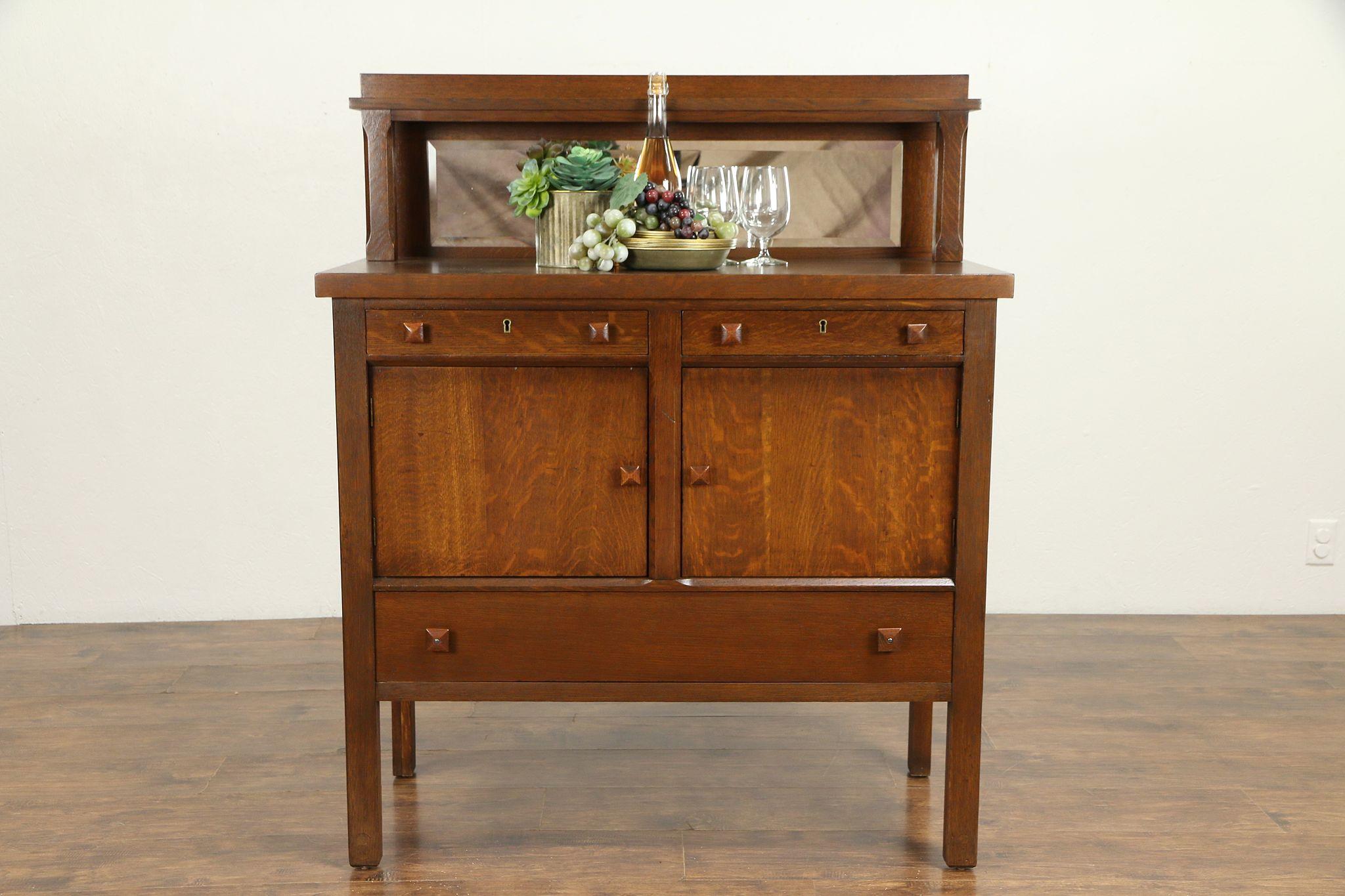 Arts Crafts Mission Oak Antique Craftsman Sideboard Server Or Buffet 31212 Photo
