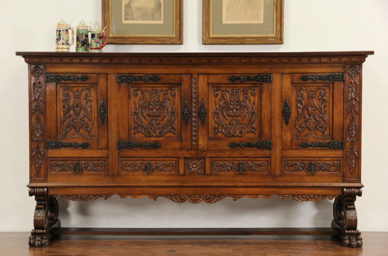 Spanish Hand Carved Oak 1915 Antique Signed Credenza Cabinet, Iron Mounts