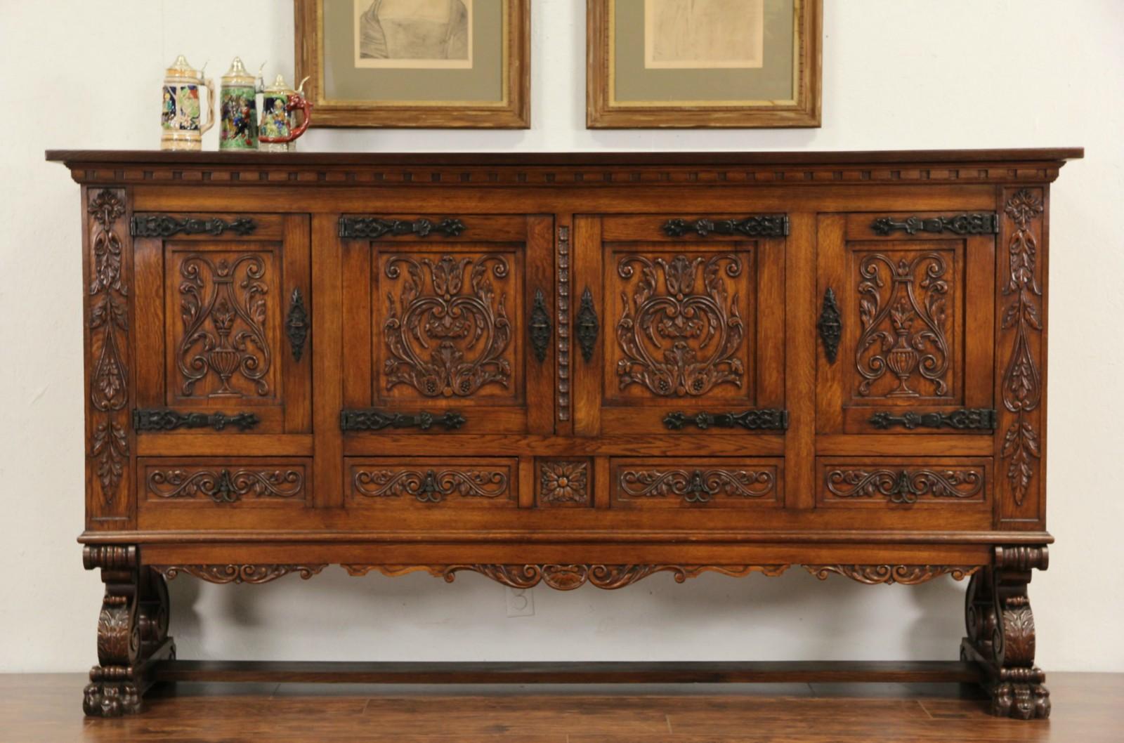 Sold Spanish Hand Carved Oak 1915 Antique Signed