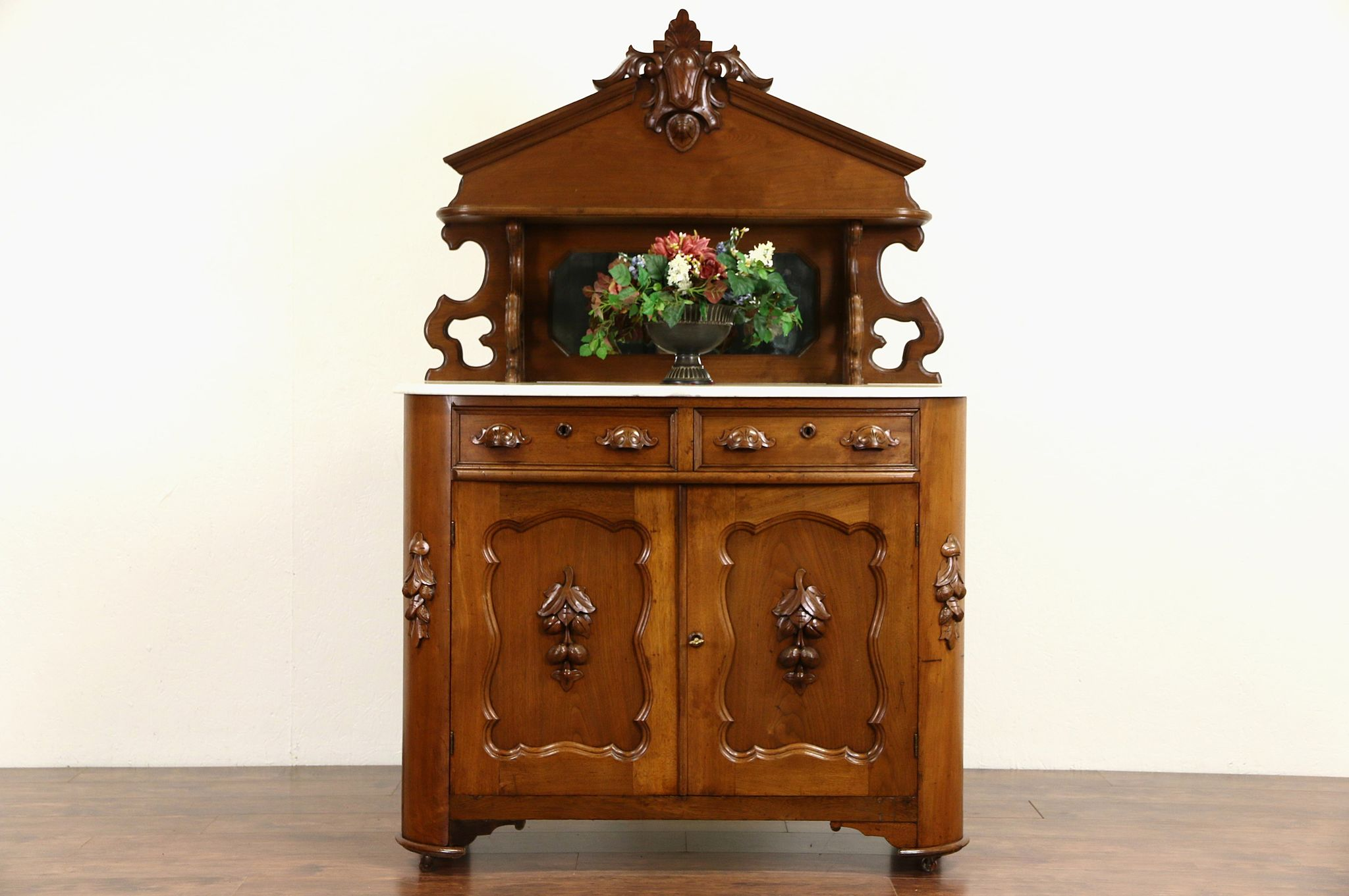 Victorian Carved Walnut 1870 Antique Marble Top Sideboard Server Buffet Photo