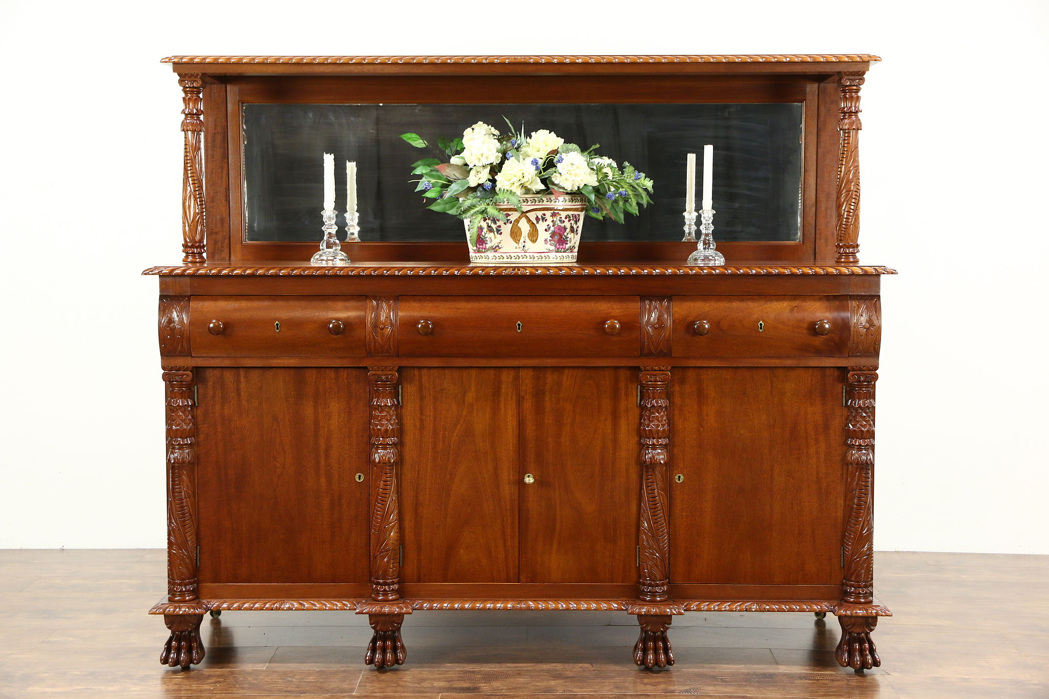 Empire Antique Hand Carved Sideboard, Server Or Buffet, Signed Tobey Chicago