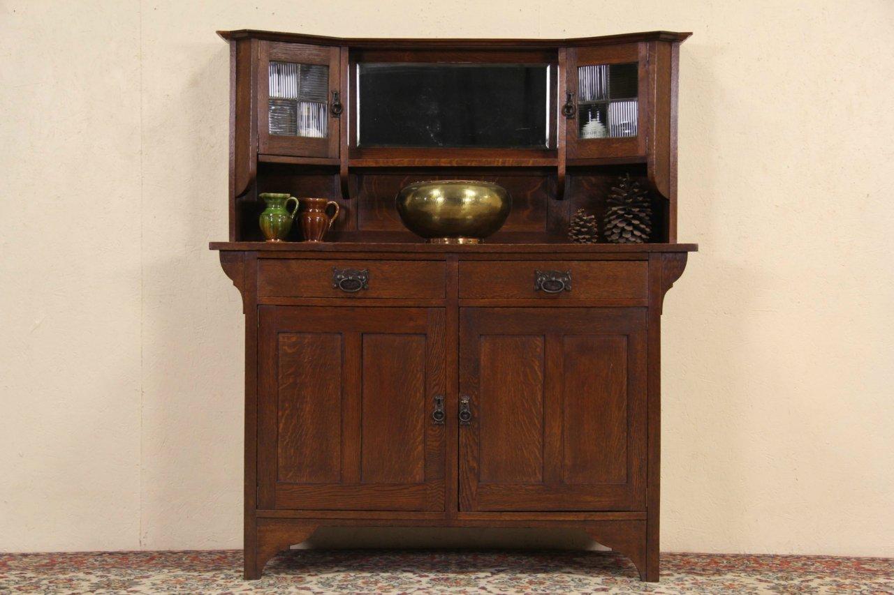 Arts U0026 Crafts 1900 Antique Oak Sideboard Or Bar Cabinet, Leaded Glass