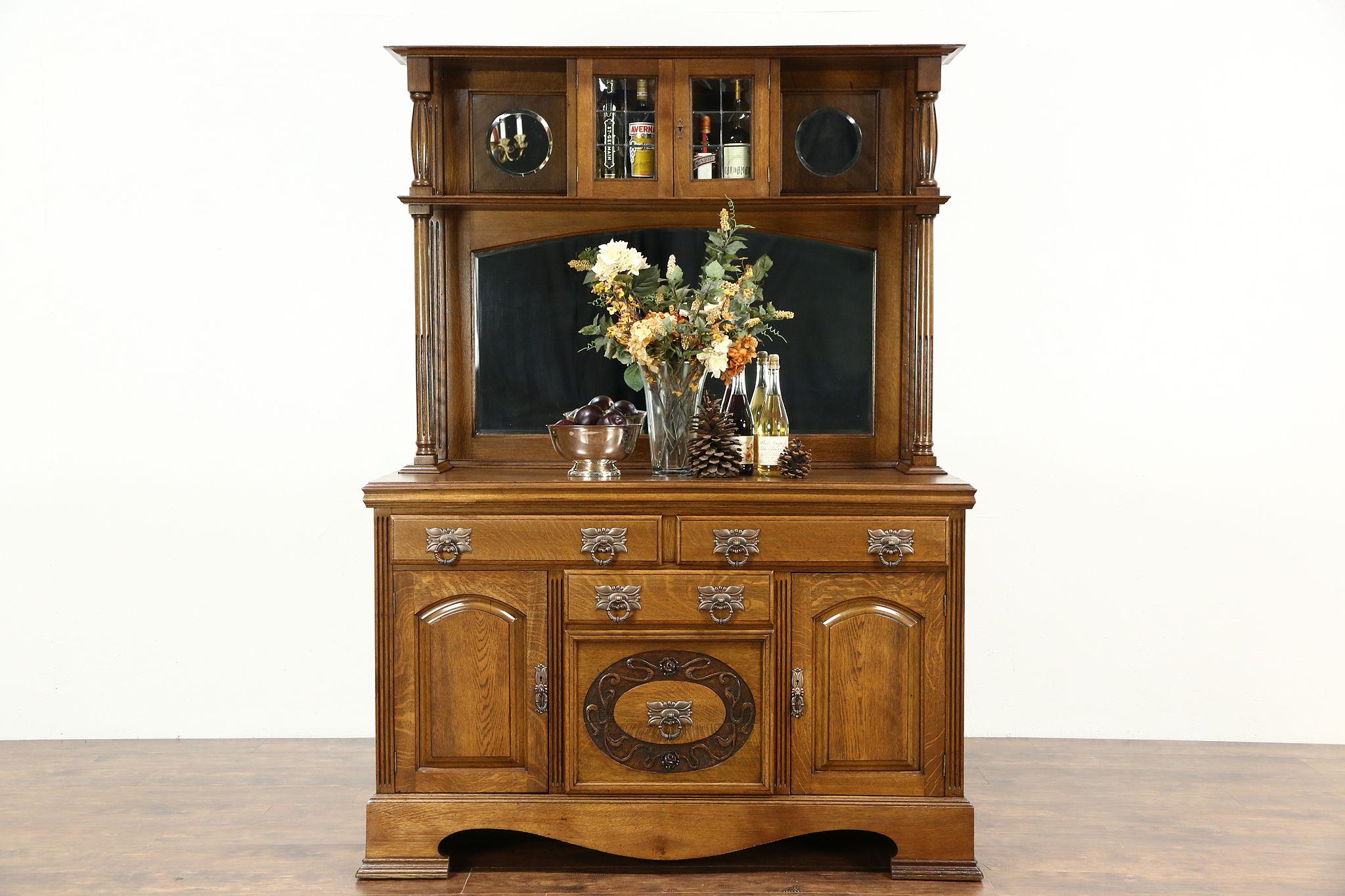 Oak Antique Sideboard Server Back Bar Or Buffet Mirror Gallery England
