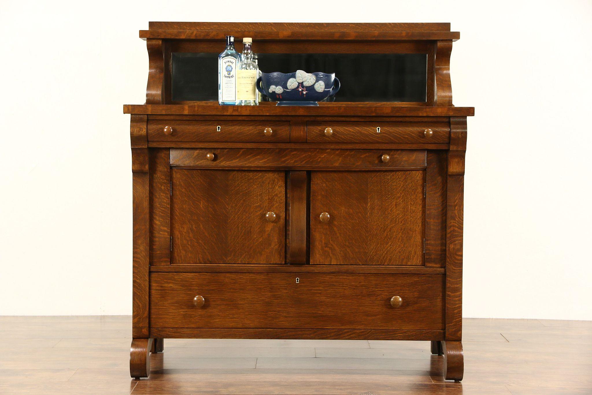 Oak 1900 Antique Empire Sideboard Or Buffet Beveled Mirror Gallery