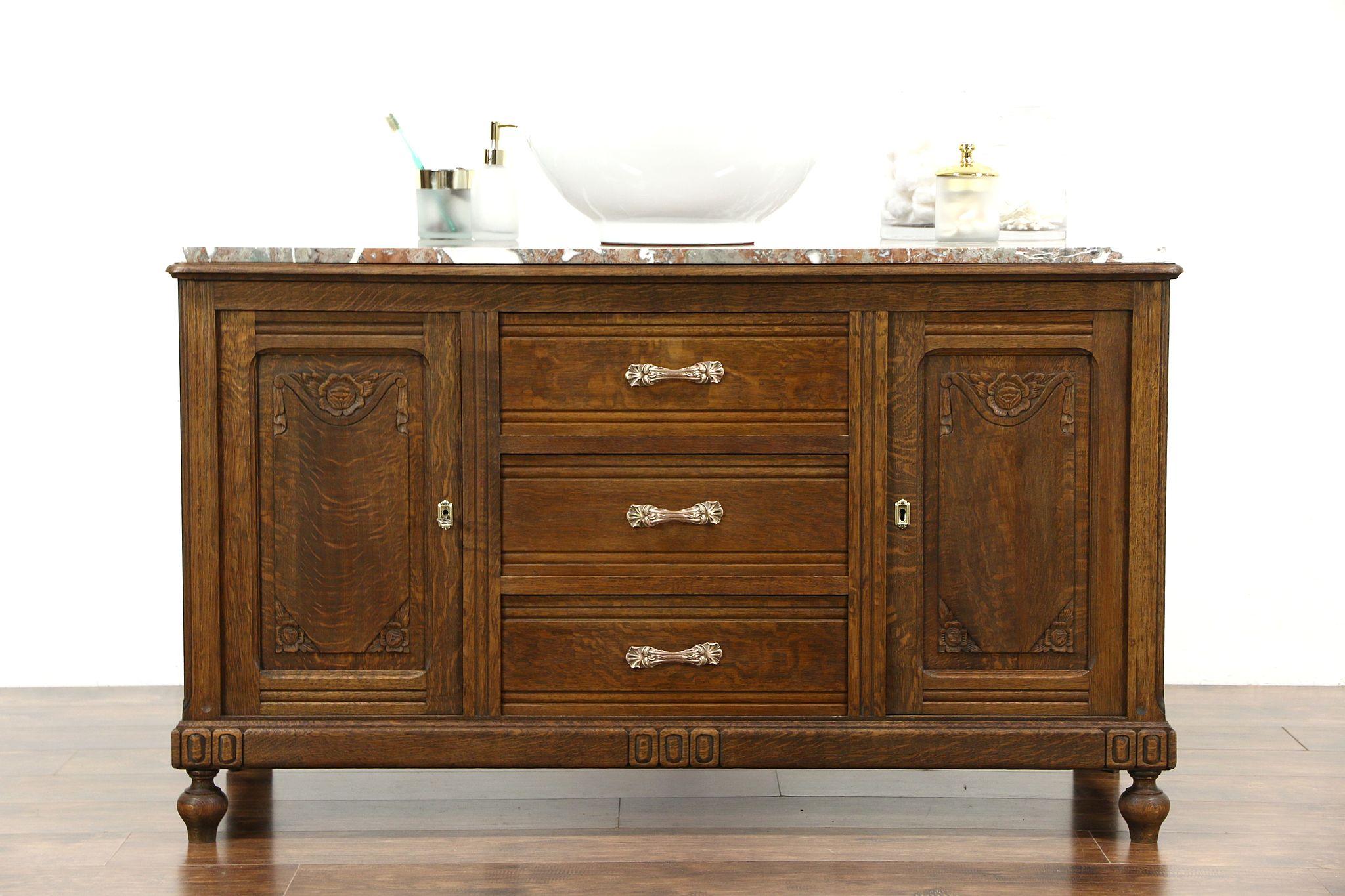SOLD Oak Carved Antique 1915 Sideboard, Server, Bar or Buffet, Marble Top Sink Vanity Harp