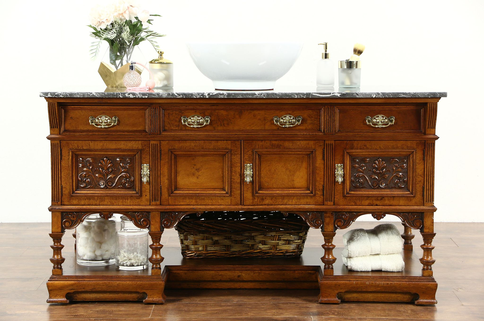 Carved Walnut Antique Marble Top Vessel Sink Vanity Console Cabinet