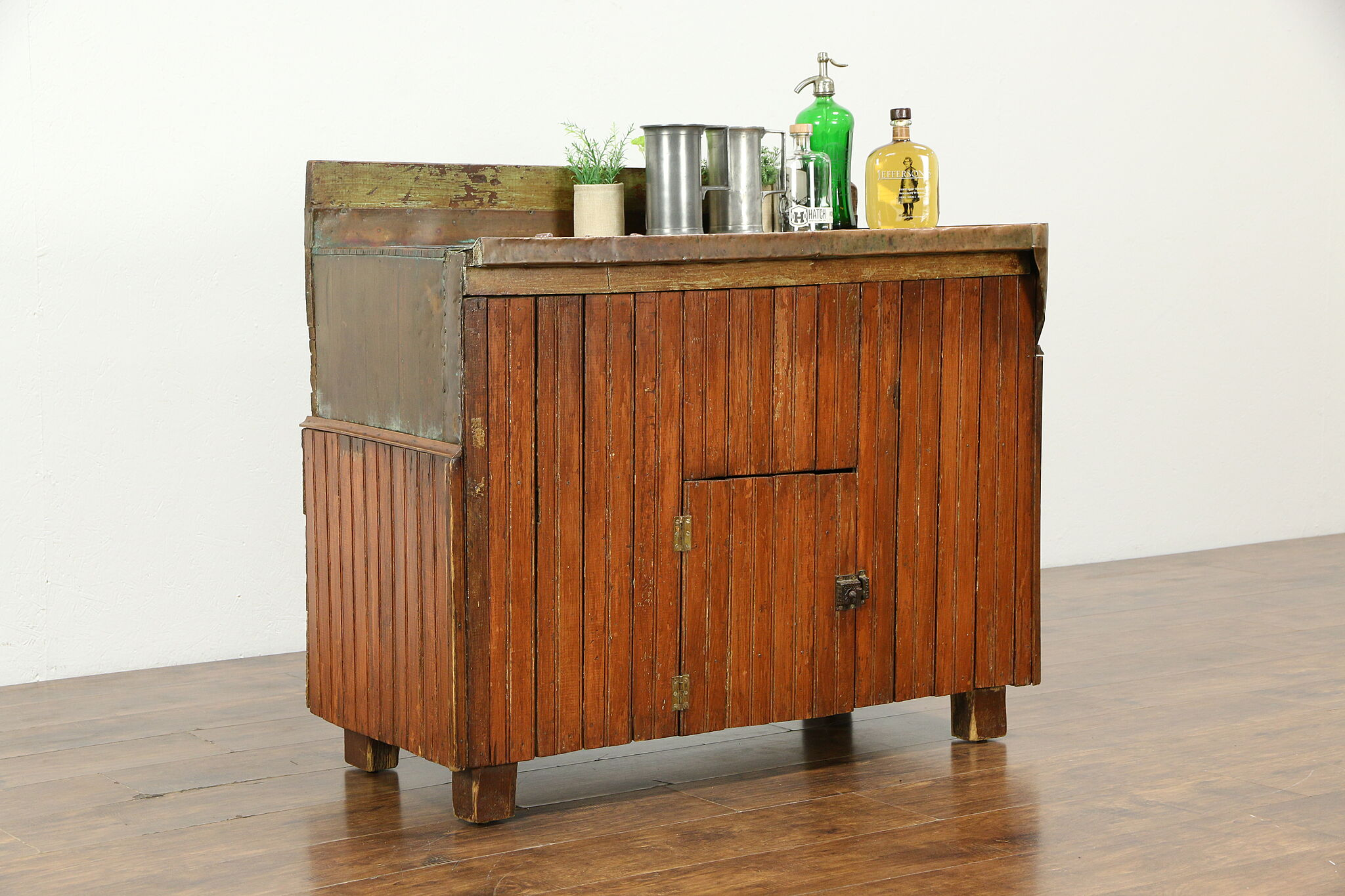 Picture of: Sold Country Pine Copper Primitive Antique Pub Bar Sink Cabinet 33789 Harp Gallery Antiques Furniture