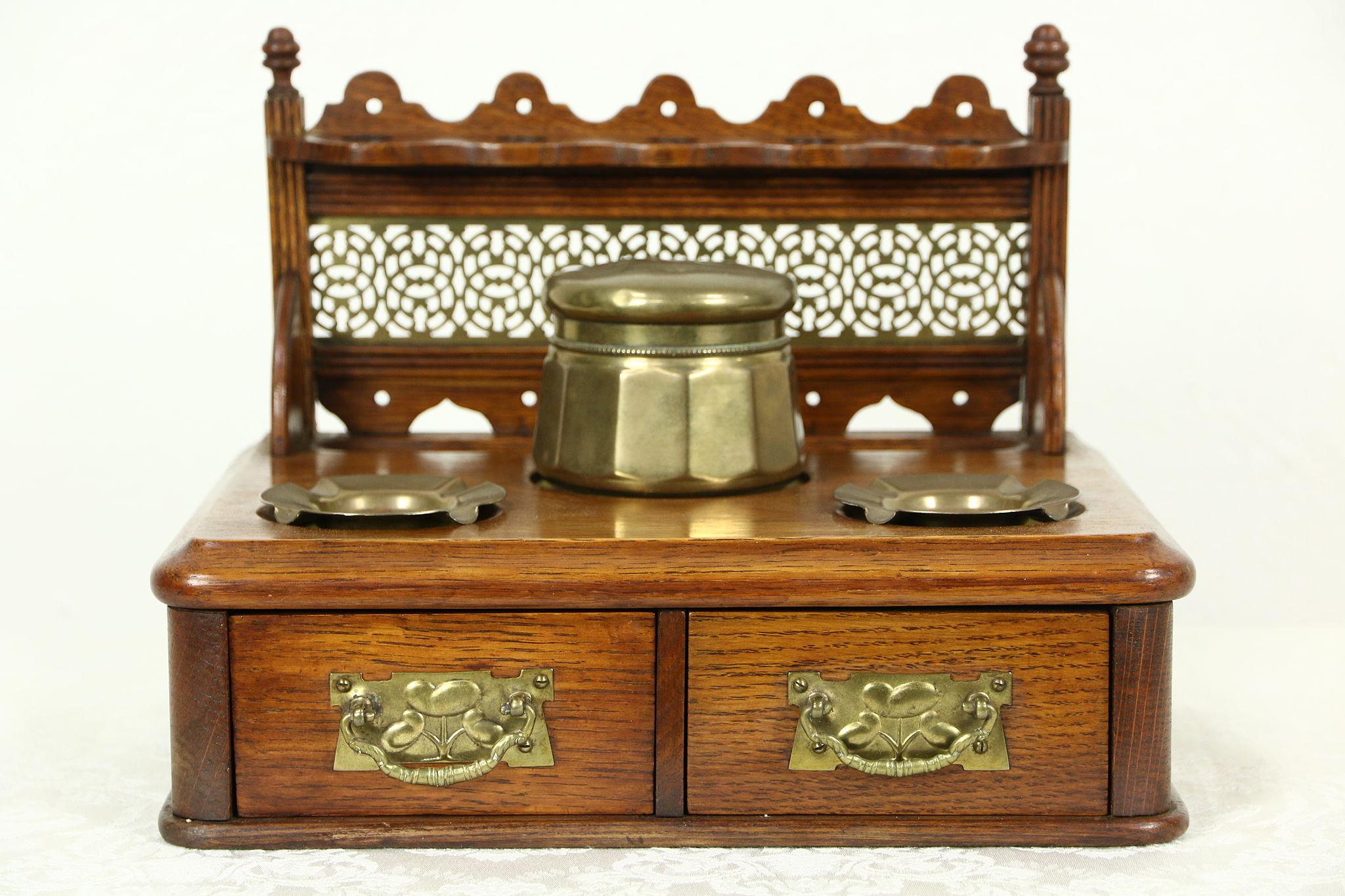 English Antique 1890 Oak U0026 Brass Tabletop Smoking Stand U0026 Pipe Rack ...