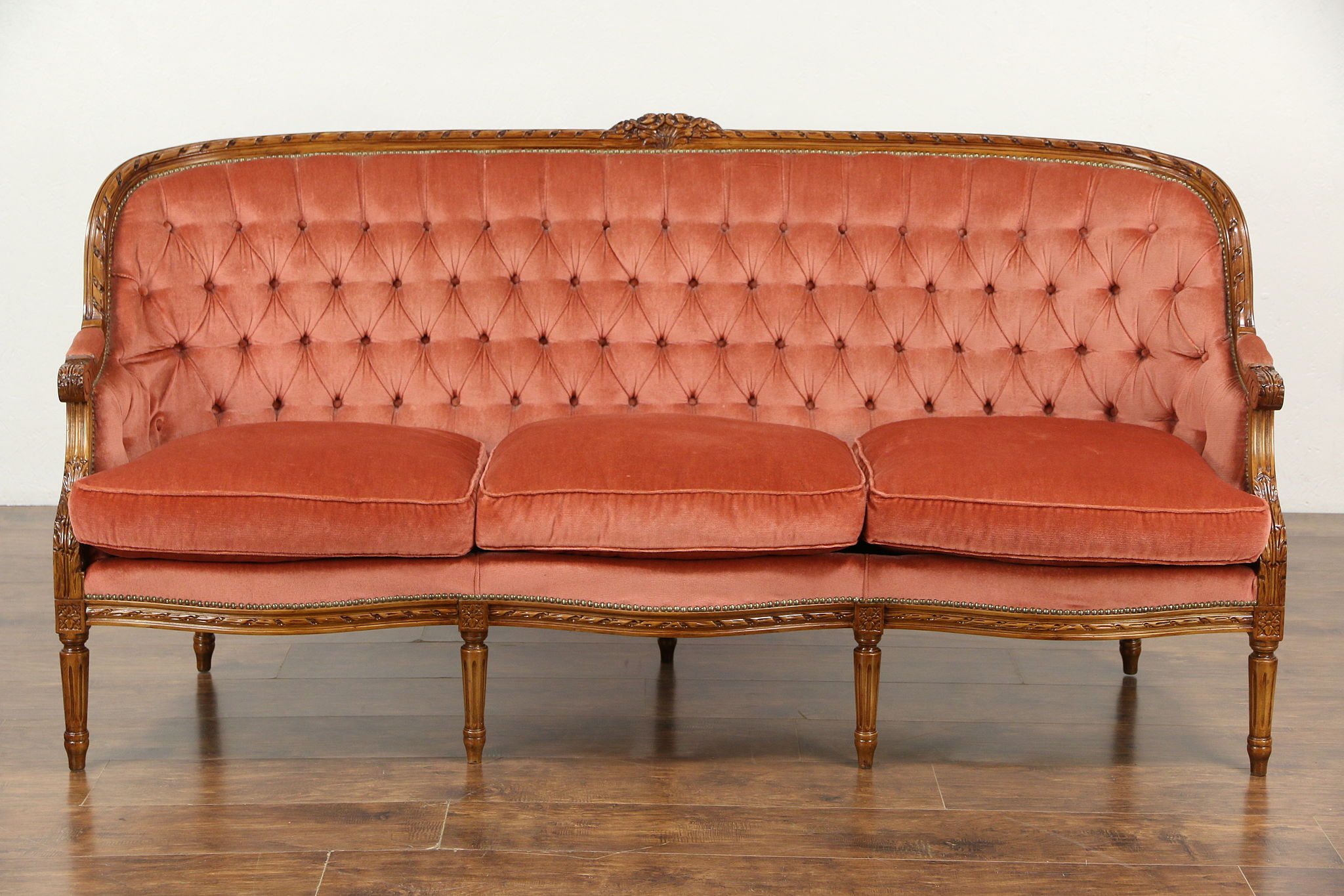 Etonnant French Louis XVI Style Vintage Carved Sofa, Tufted Upholstery