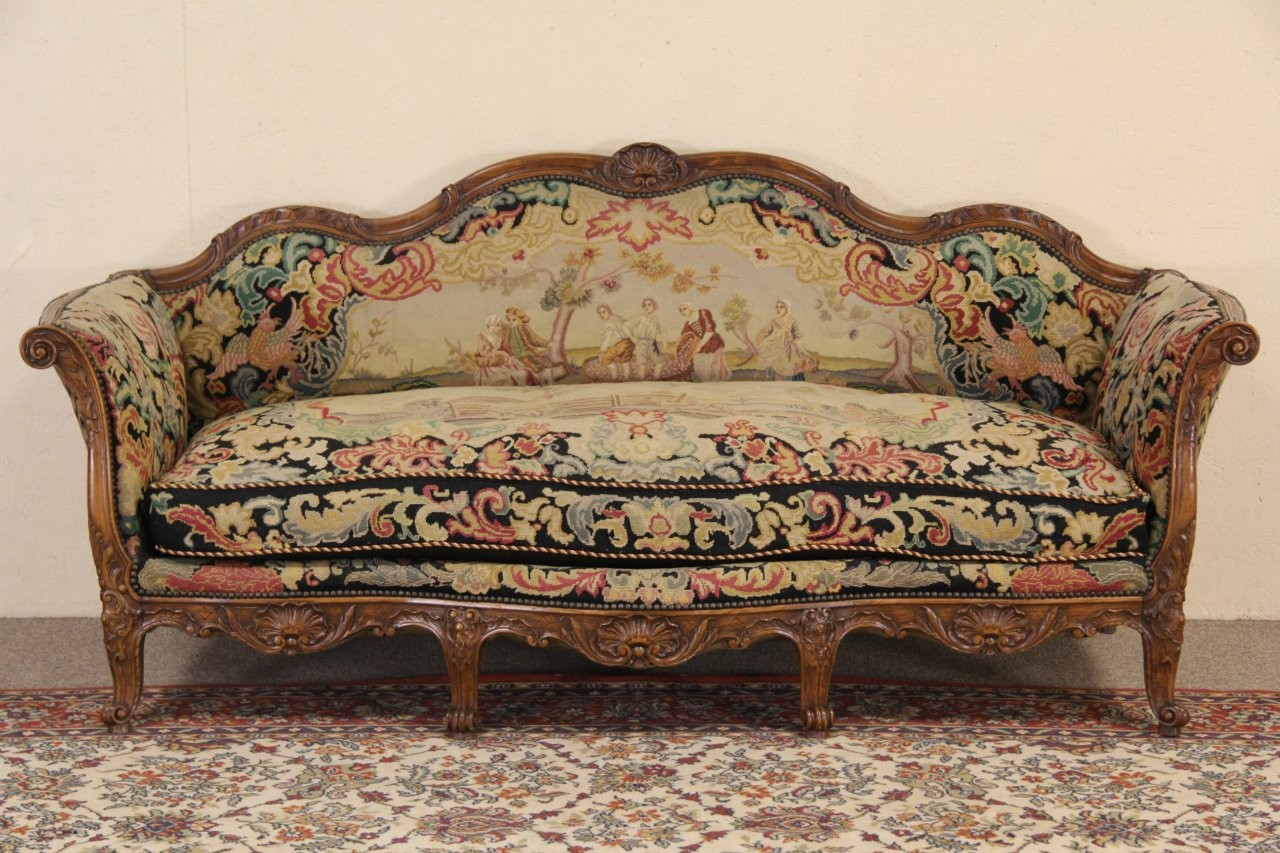 Sold Country French 1900 Antique Needlepoint Sofa Harp
