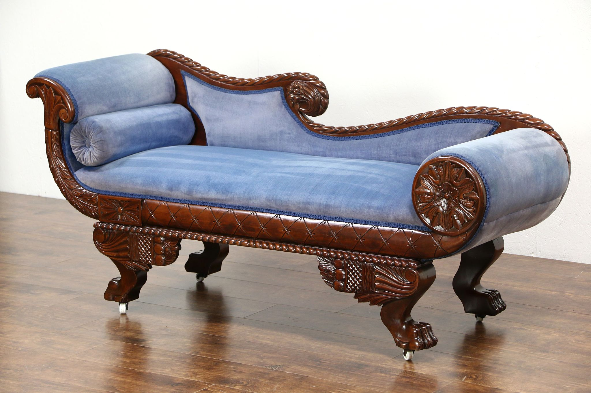 Sold empire 1895 antique chaise recamier lounge or for Antique chaise lounge sofa