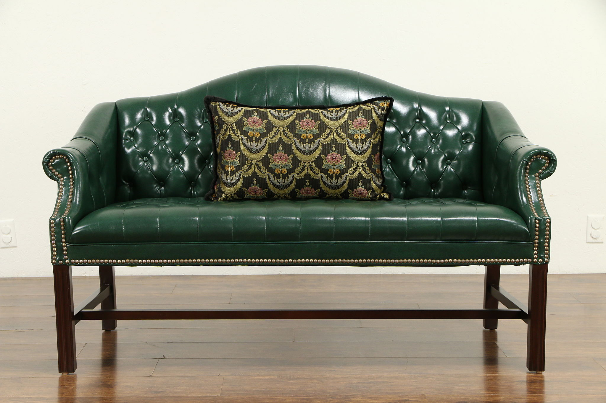Excellent Traditional Camel Back Faux Leather Vintage Loveseat Brass Nailheads 32258 Cjindustries Chair Design For Home Cjindustriesco