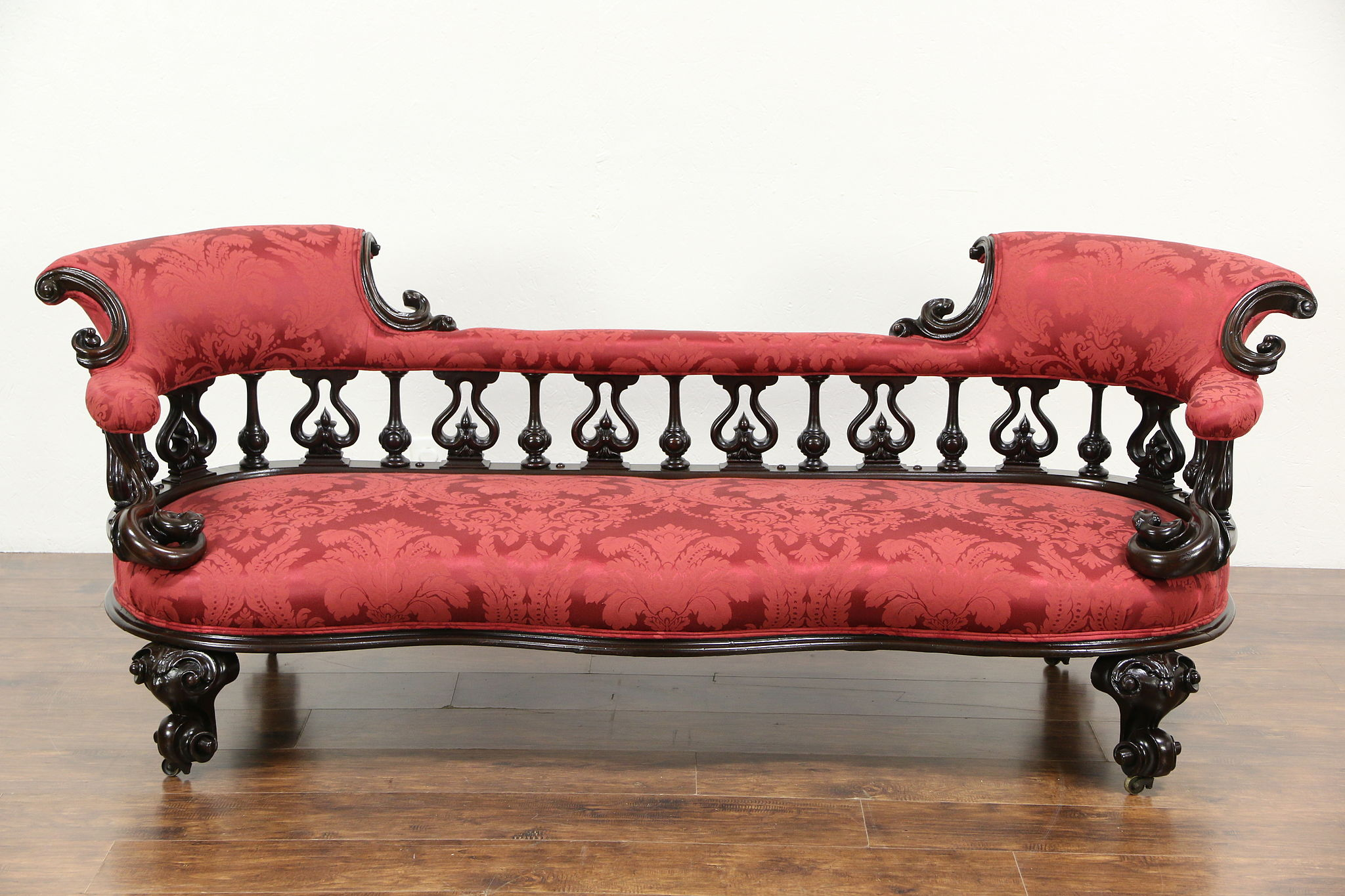 Victorian 1850 s Walnut Sofa Carved Serpents New Upholstery