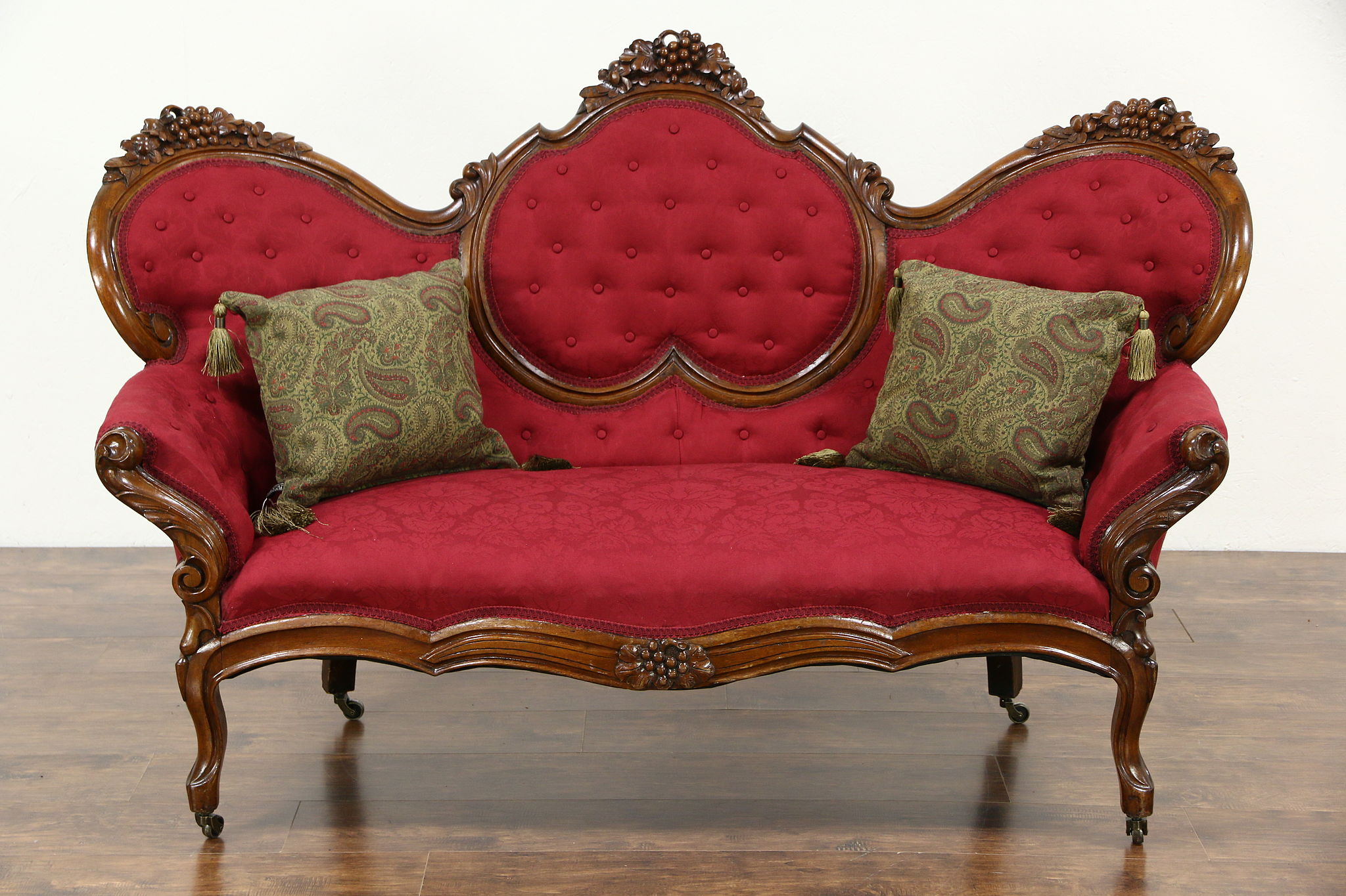 Sold Victorian 1860 S Antique Grape Carved Walnut Sofa New Upholstery Harp Gallery