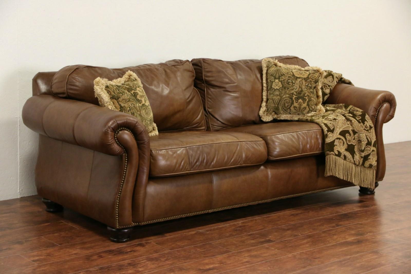 Sold Bernhardt Signed Natural Leather Vintage Sofa Brass