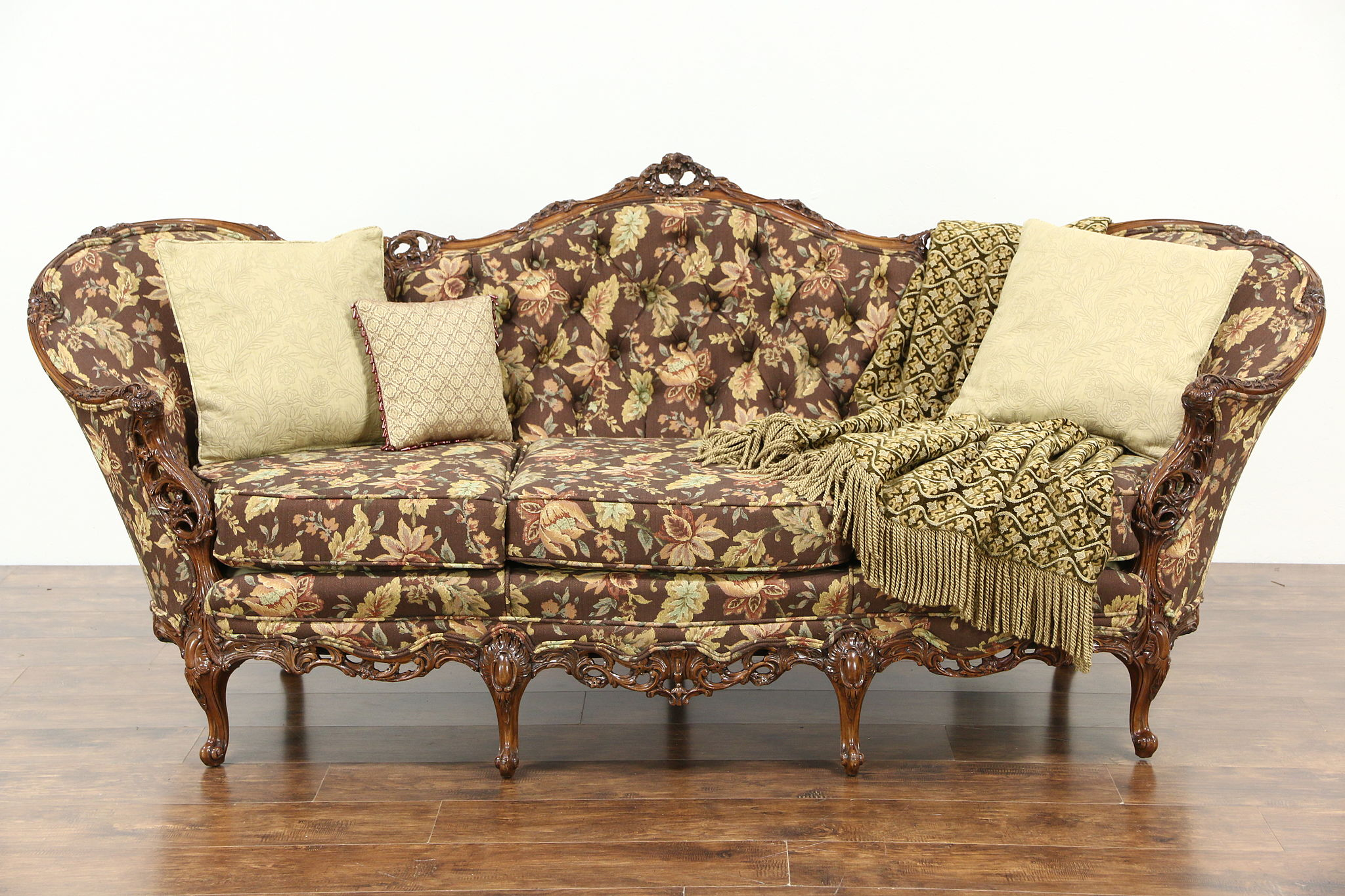 Sold carved 1940 39 s vintage sofa pierced swag rose for Sofa upholstery