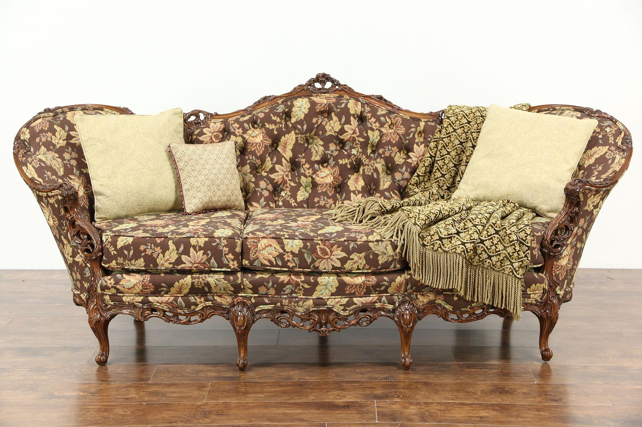 sold carved 1940 39 s vintage sofa pierced swag rose. Black Bedroom Furniture Sets. Home Design Ideas