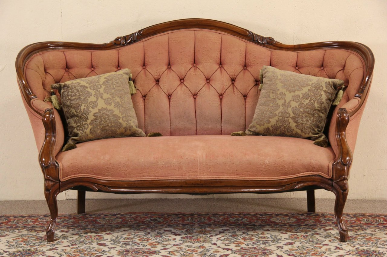 Sold Victorian 1860 39 S Antique Walnut Loveseat Or Sofa