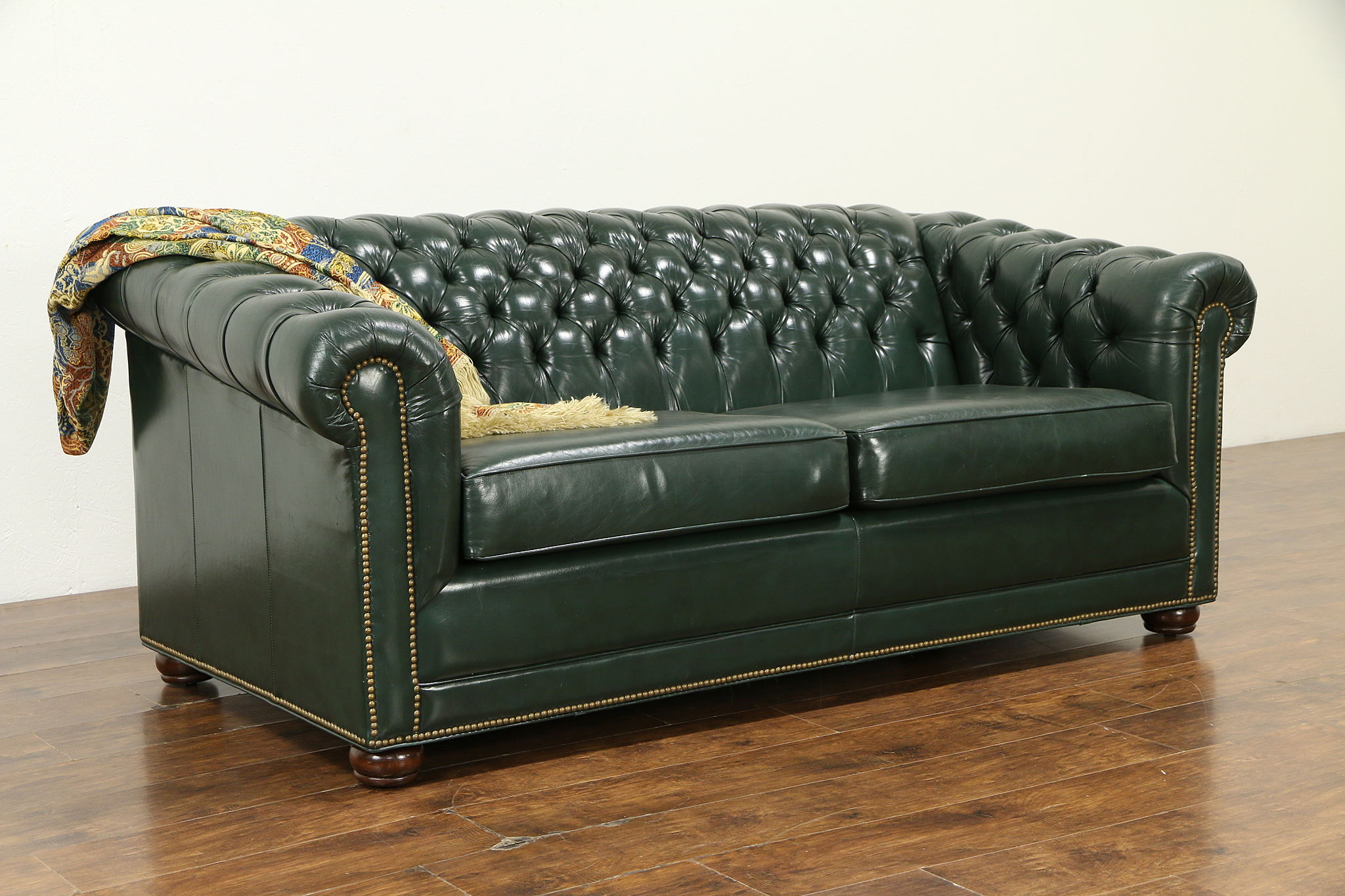 Chesterfield Green Tufted Leather