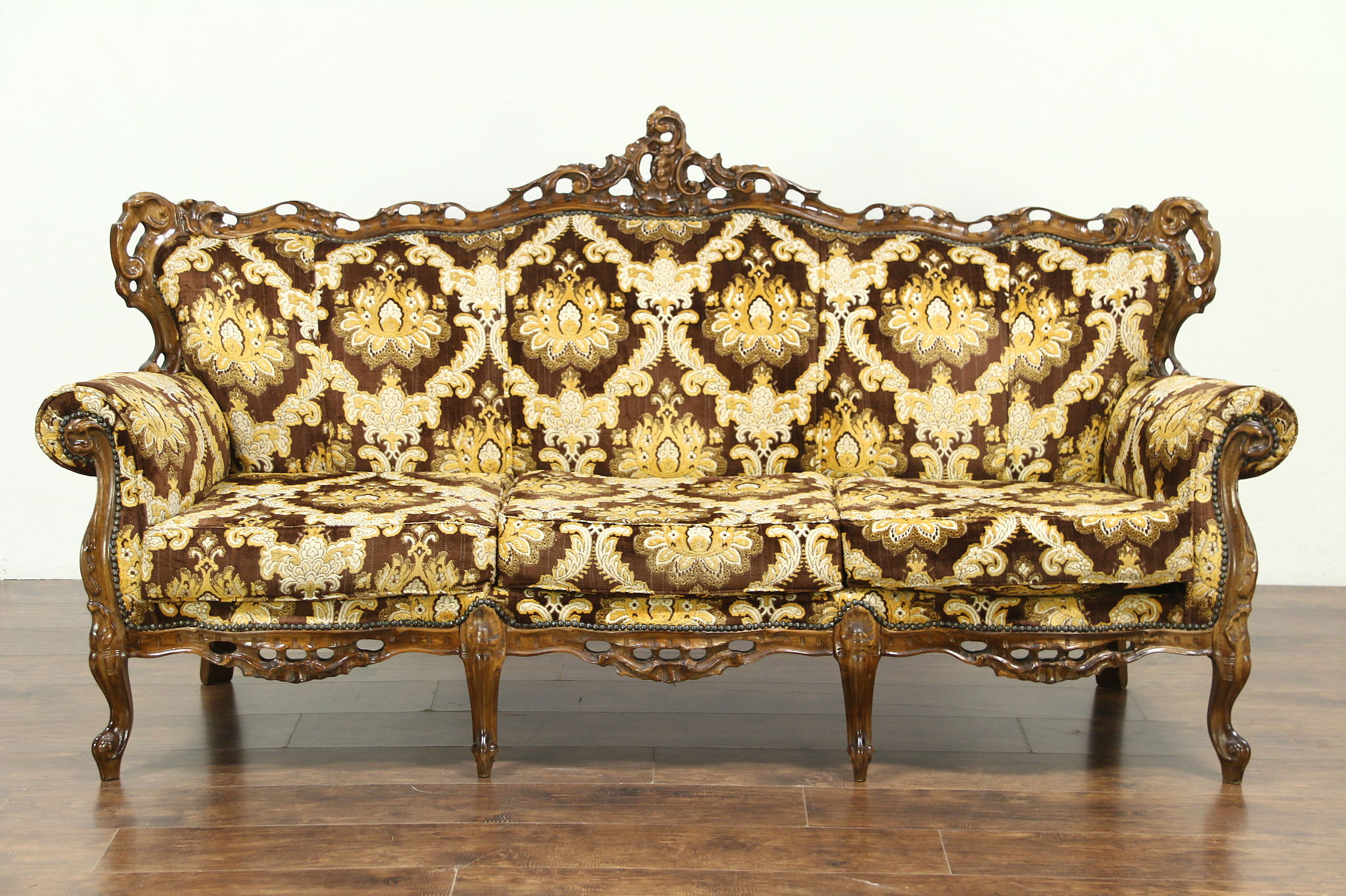 Charmant Baroque Style Large Carved Fruitwood Vintage Sofa, Italy