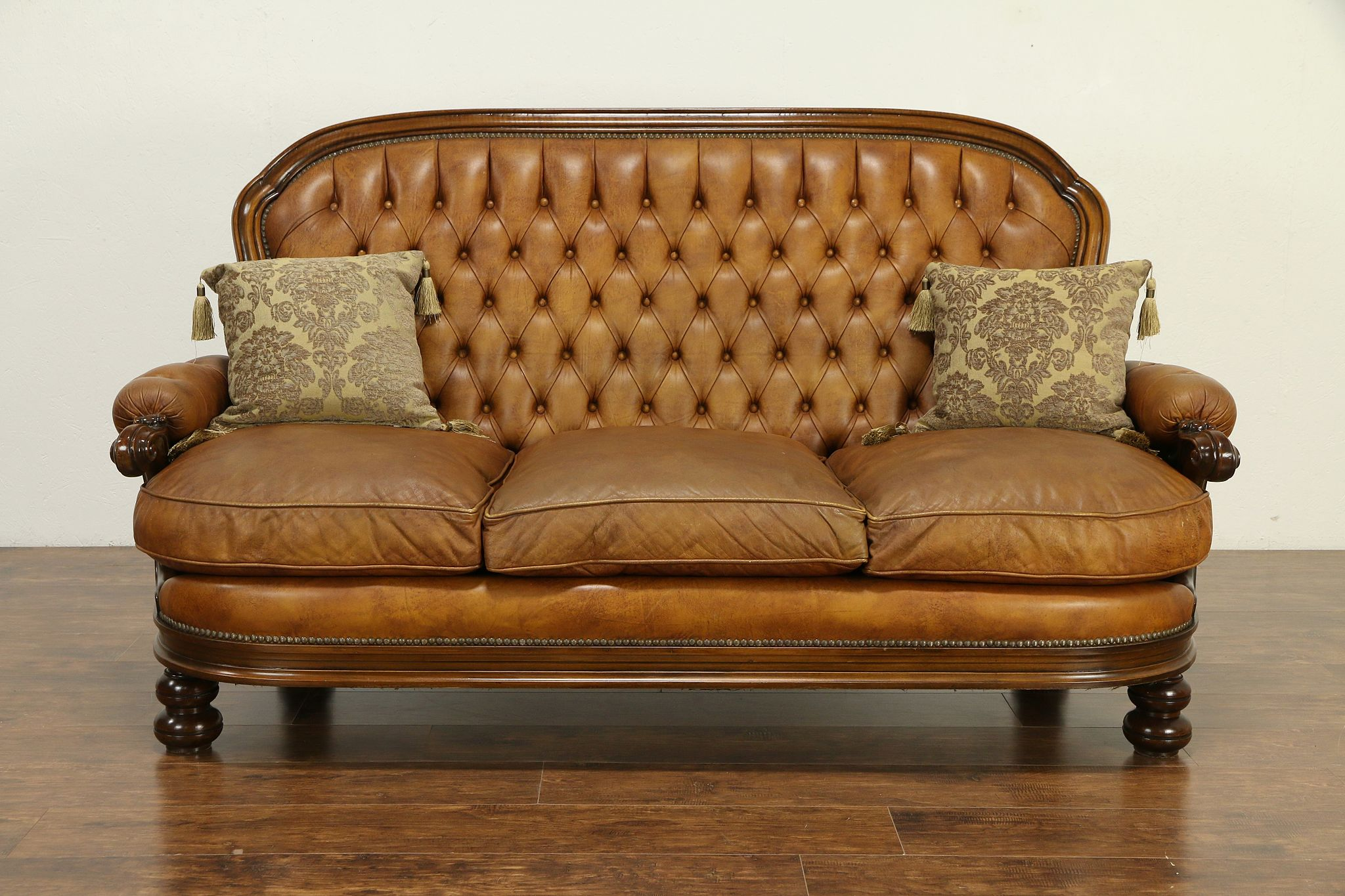 - SOLD - Italian Vintage Tufted Leather Sofa, Carved Fruitwood, Down