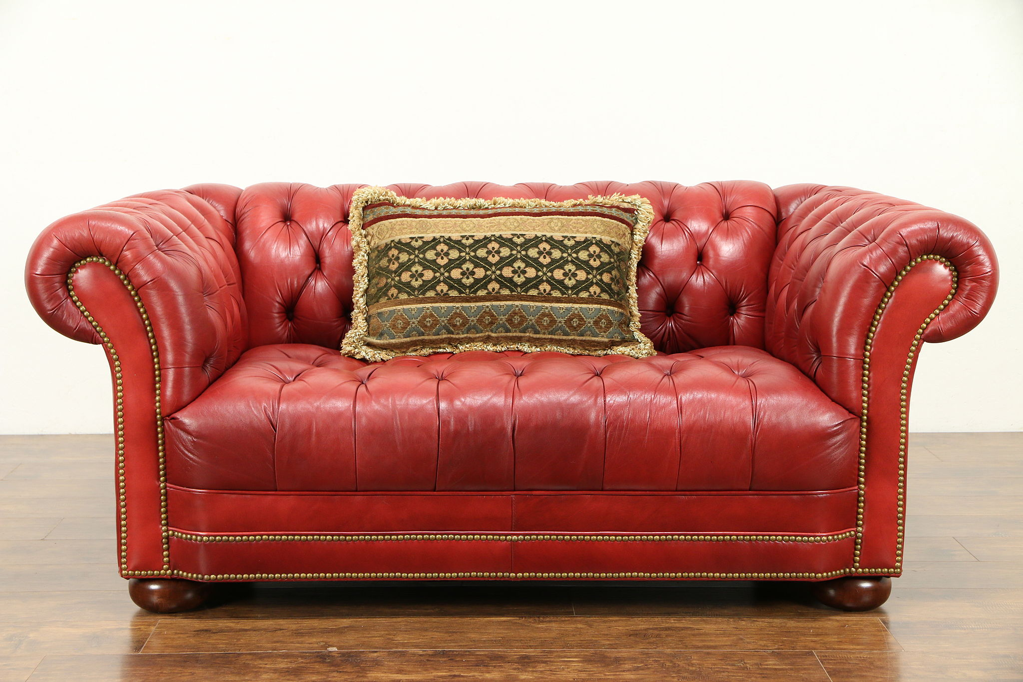 Sold Leather Tufted Vintage Chesterfield Sofa Brass Nailhead Trim
