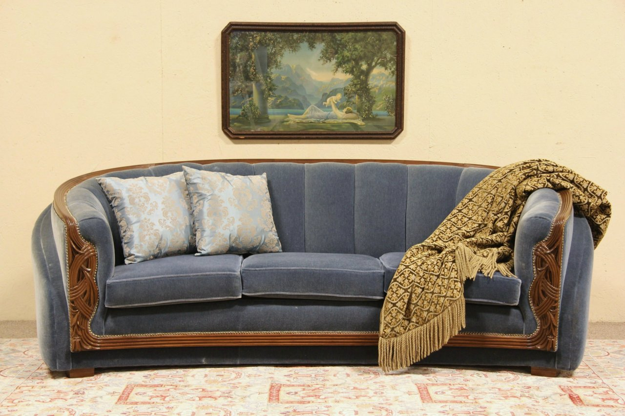 Art Deco 1935 Sofa, New Genuine Mohair Upholstery