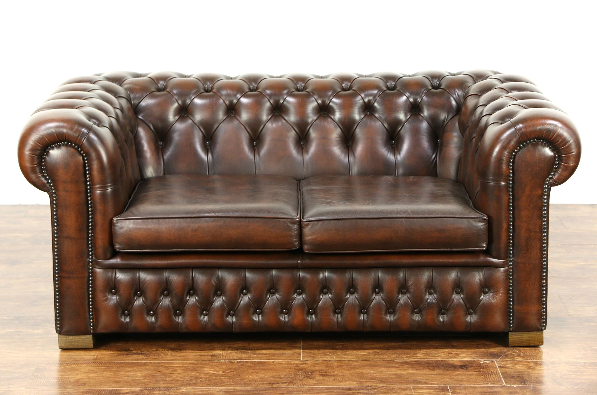 sold chesterfield tufted brown leather vintage scandinavian loveseat harp gallery antique. Black Bedroom Furniture Sets. Home Design Ideas