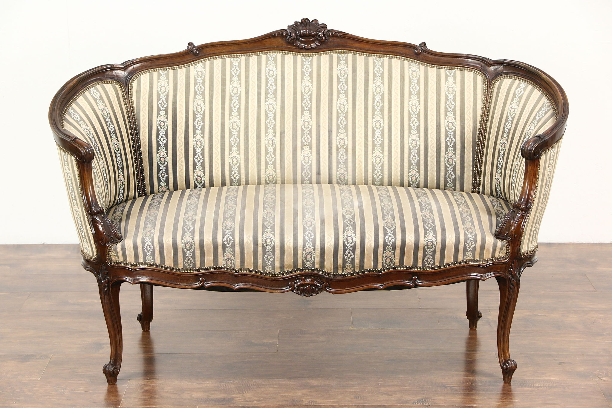 Sold French Louis Xiv Hand Carved Walnut 1920 Antique Salon Settee Or Loveseat Harp Gallery Antiques Furniture