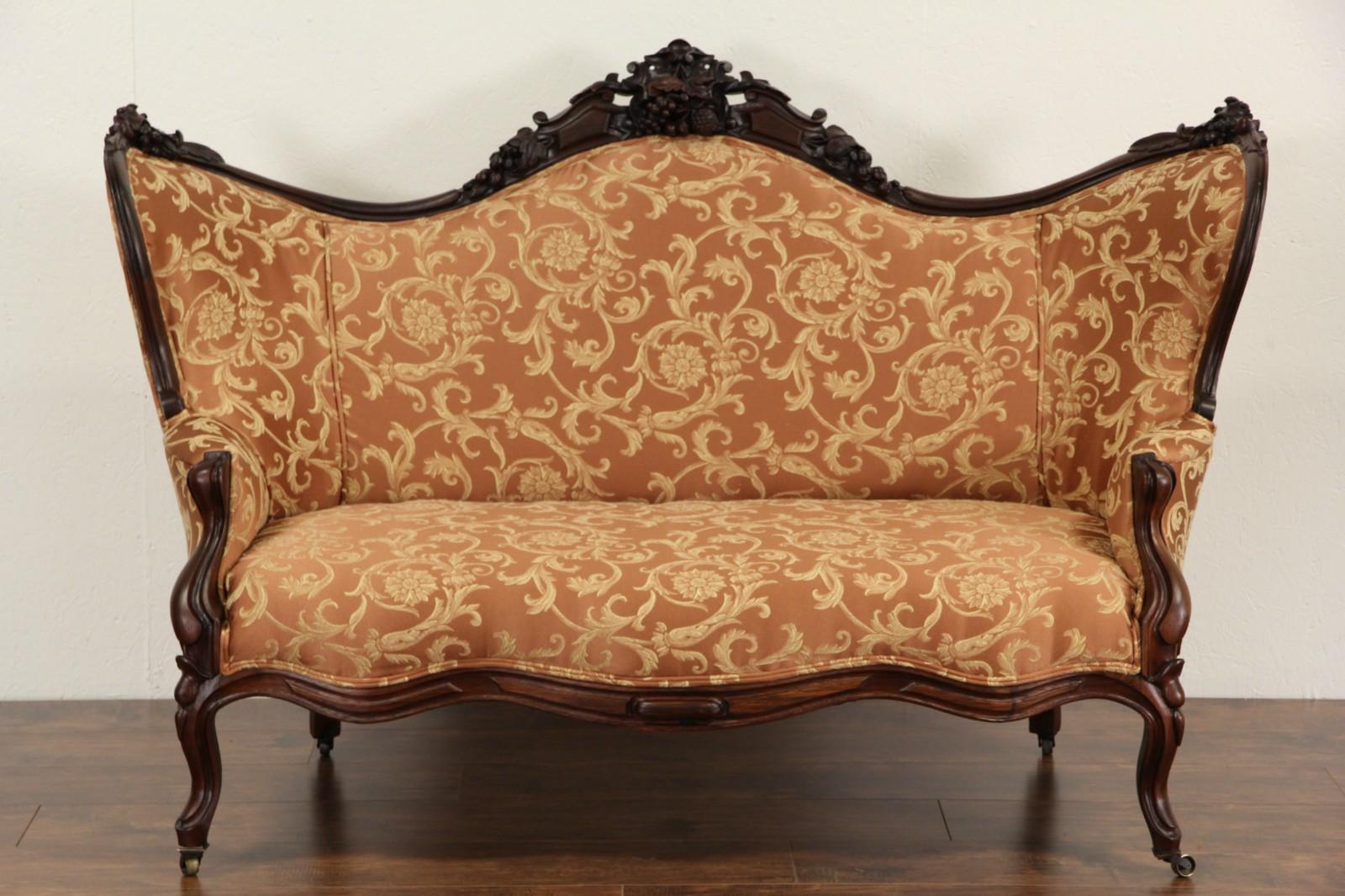 Victorian to Empire Antique 1840 Carved Mahogany Sofa, New