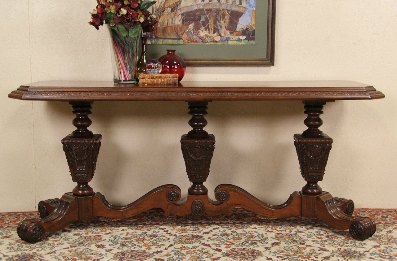 Renaissance Carved 1920 S Antique Sofa Hall Or Foyer Table Kiel Wi