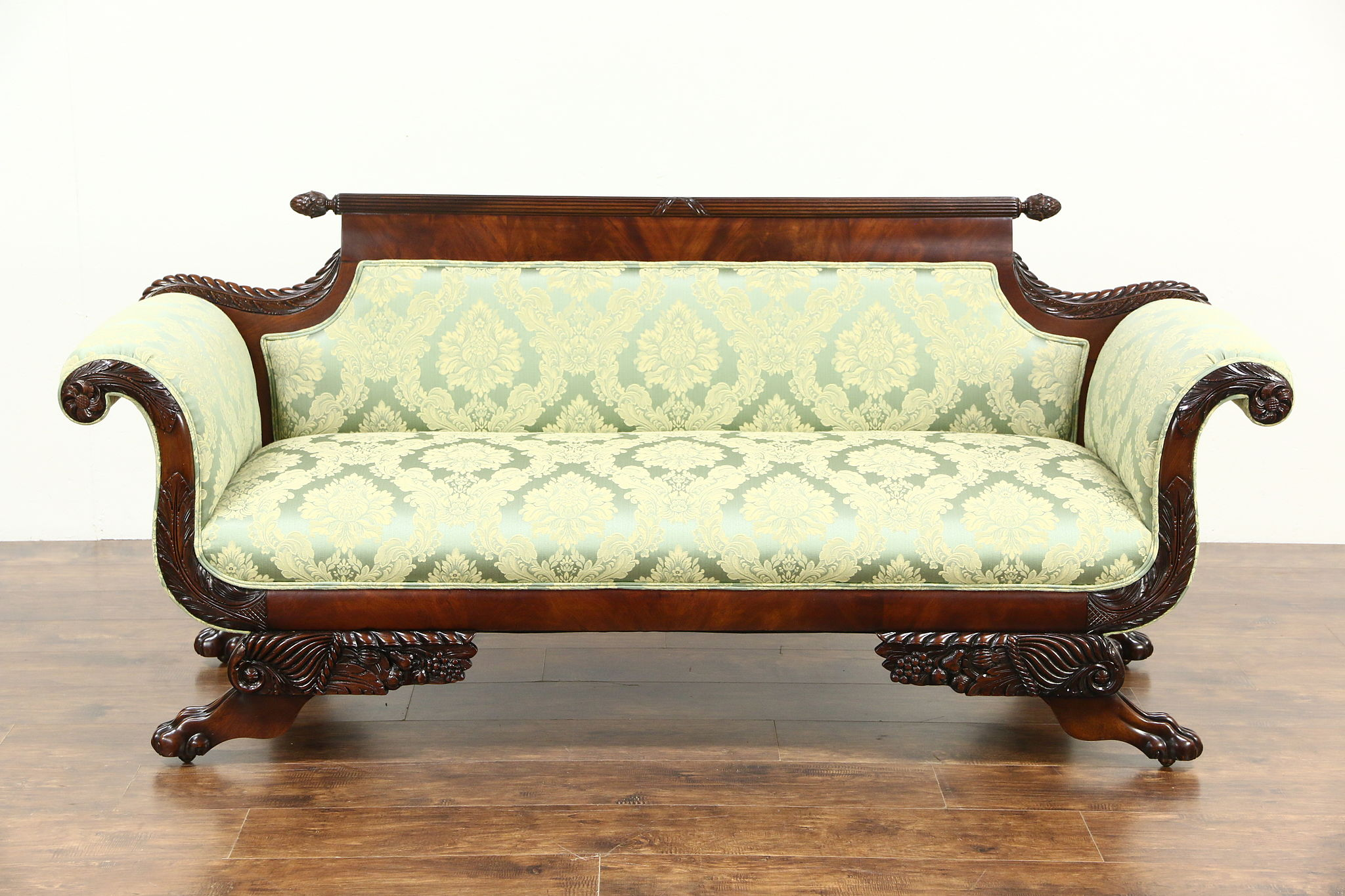 Sold Empire 1900 Antique Mahogany Sofa Carved Acanthus