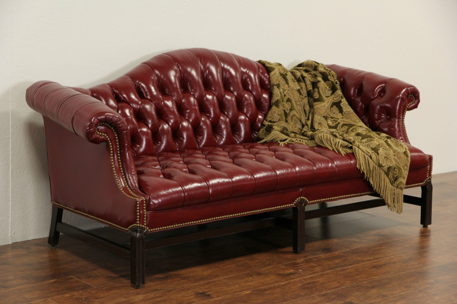 SOLD Red Leather Vintage Tufted Library Sofa Custom