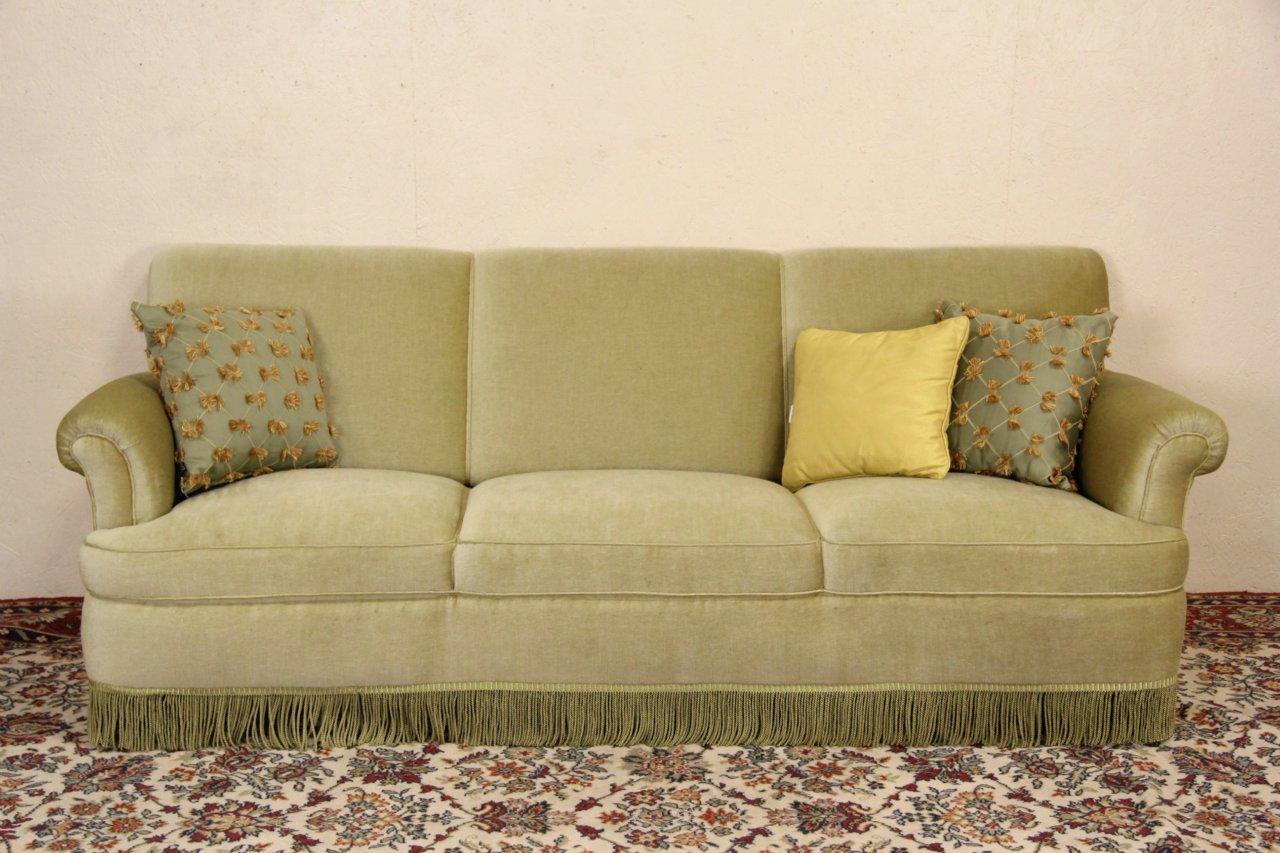 Mohair 1940 S Vintage Scandinavian Sofa Original Fringe
