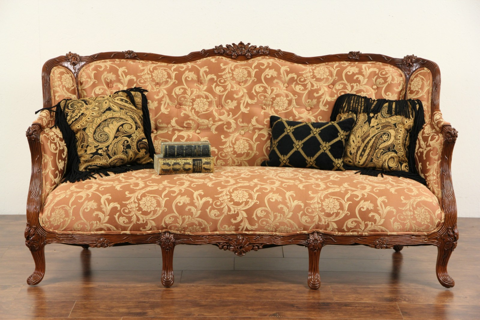 sold french style 1930 39 s carved vintage sofa new upholstery harp gallery. Black Bedroom Furniture Sets. Home Design Ideas