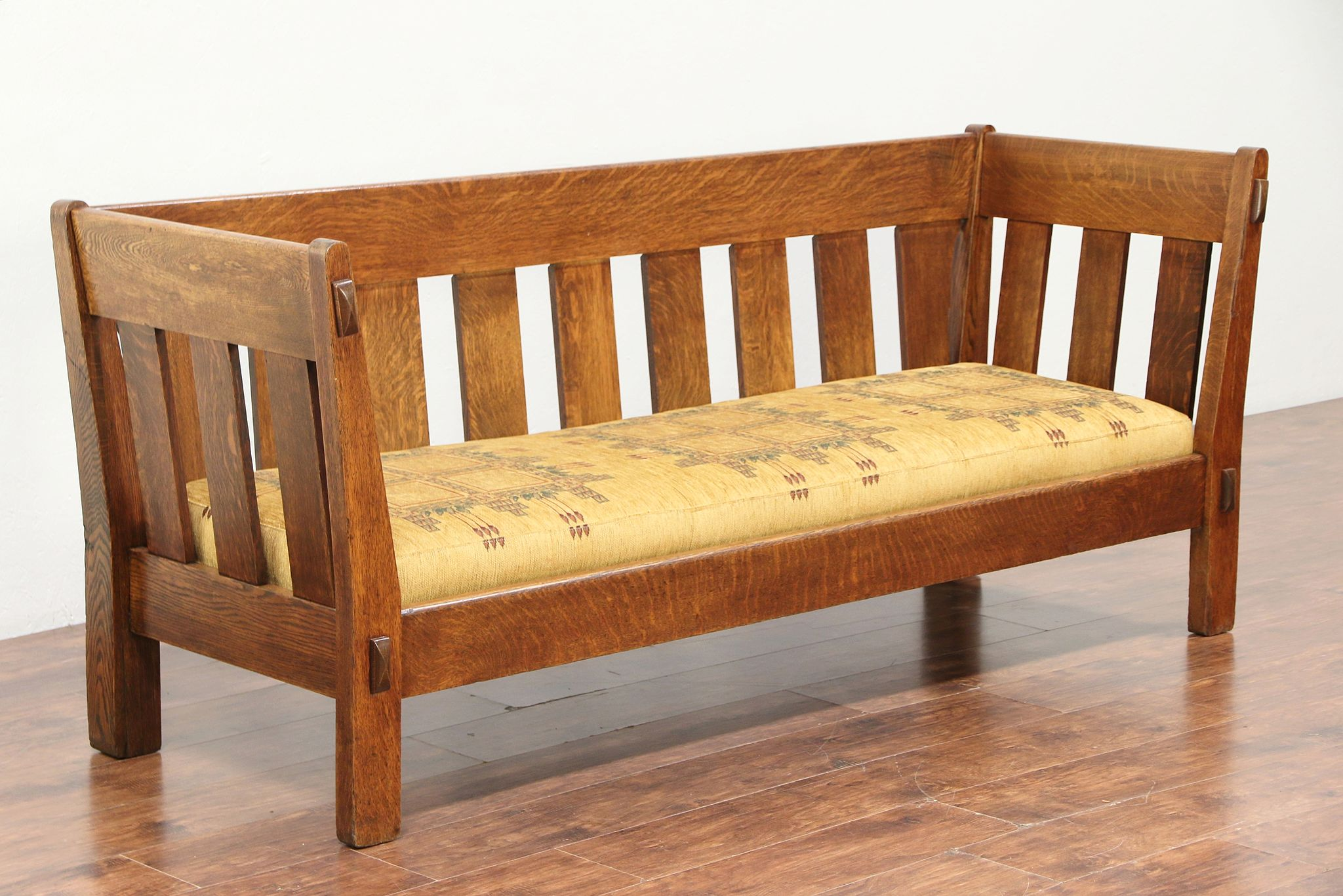 Arts Crafts Mission Oak Antique Craftsman Settee Sofa New Upholstery 29449