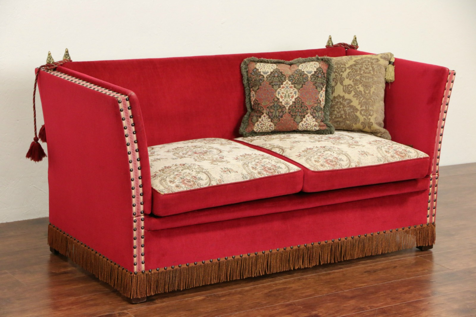 Awesome Spanish Adjustable Dropside 1930 Vintage Sofa Or Settee With Fringe