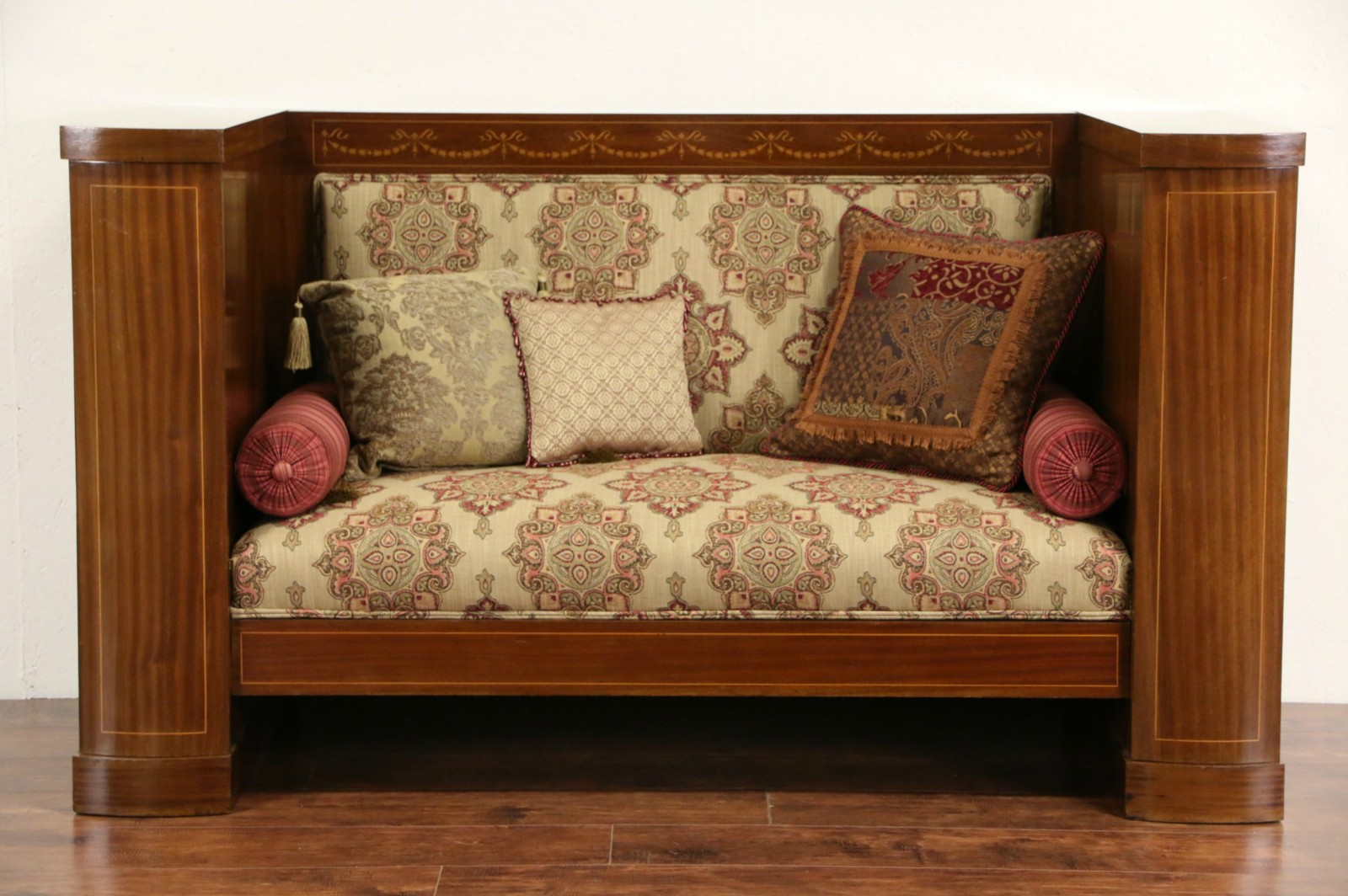 Biedermeier Empire Antique 1900 Marquetry Hall Settee Or Sofa