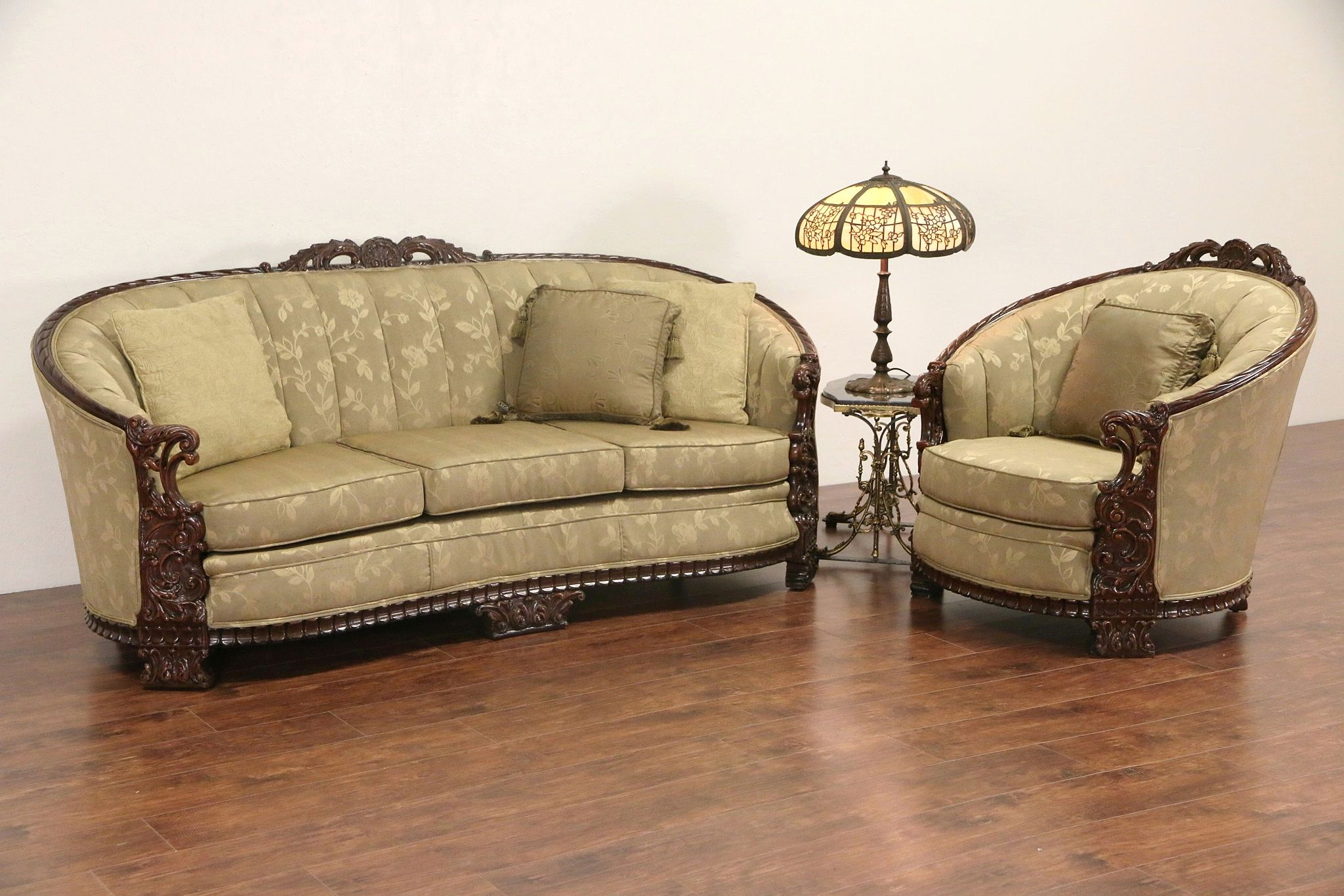 Prime Carved Sofa Club Chair Set 1930S Vintage Recent Upholstery Andrewgaddart Wooden Chair Designs For Living Room Andrewgaddartcom