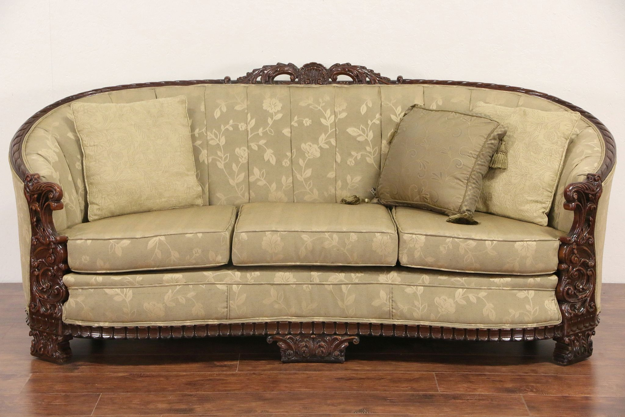Super Carved Sofa Club Chair Set 1930S Vintage Recent Upholstery Ncnpc Chair Design For Home Ncnpcorg