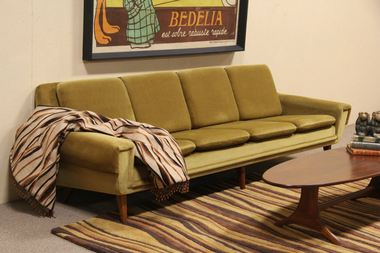 Sold Midcentury Danish Modern Mohair Sofa 1960 Vintage
