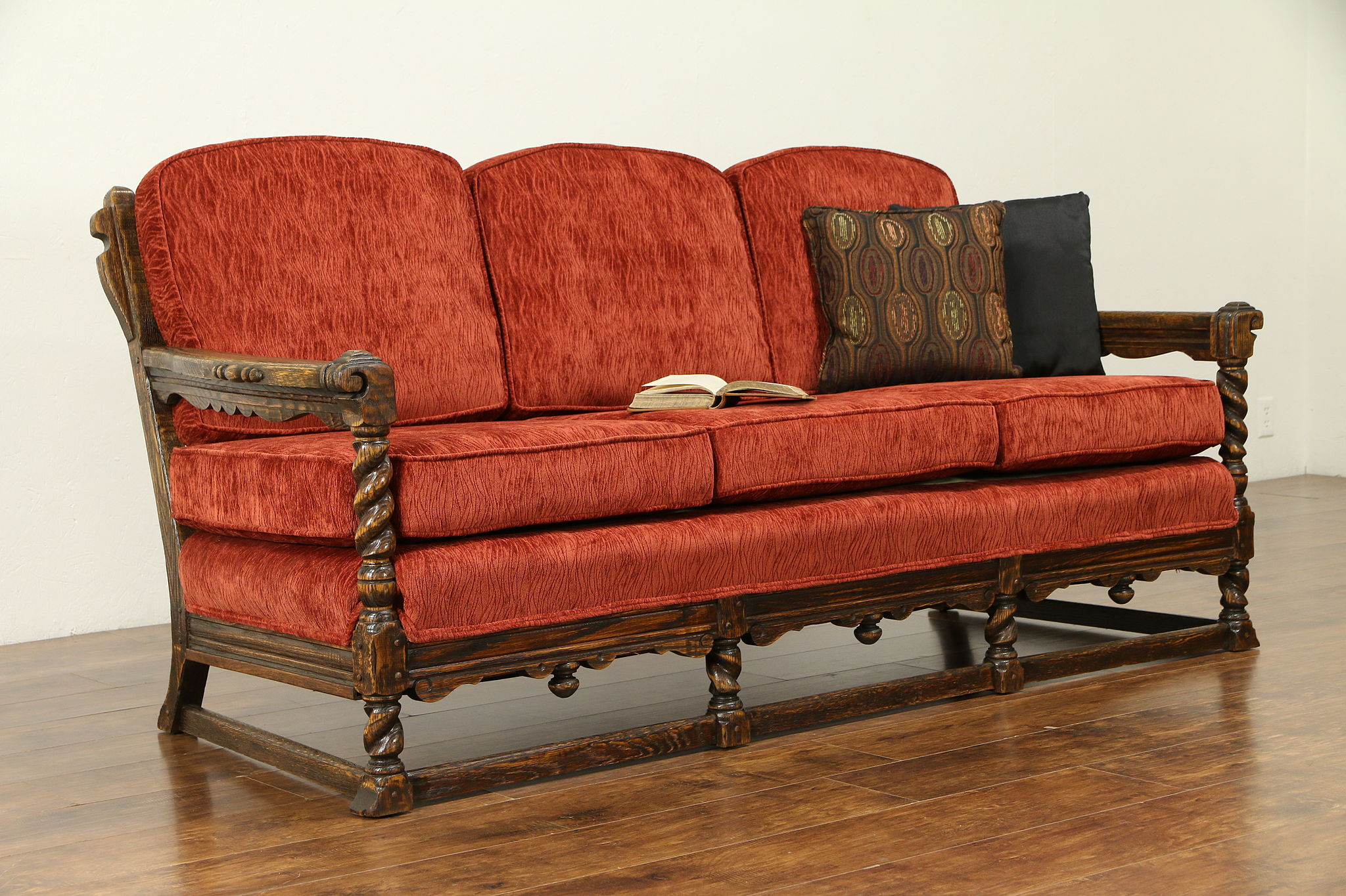 Sold English Tudor Antique Carved Oak Club Sofa Kittinger New Upholstery 30847 Harp Gallery Antiques Furniture