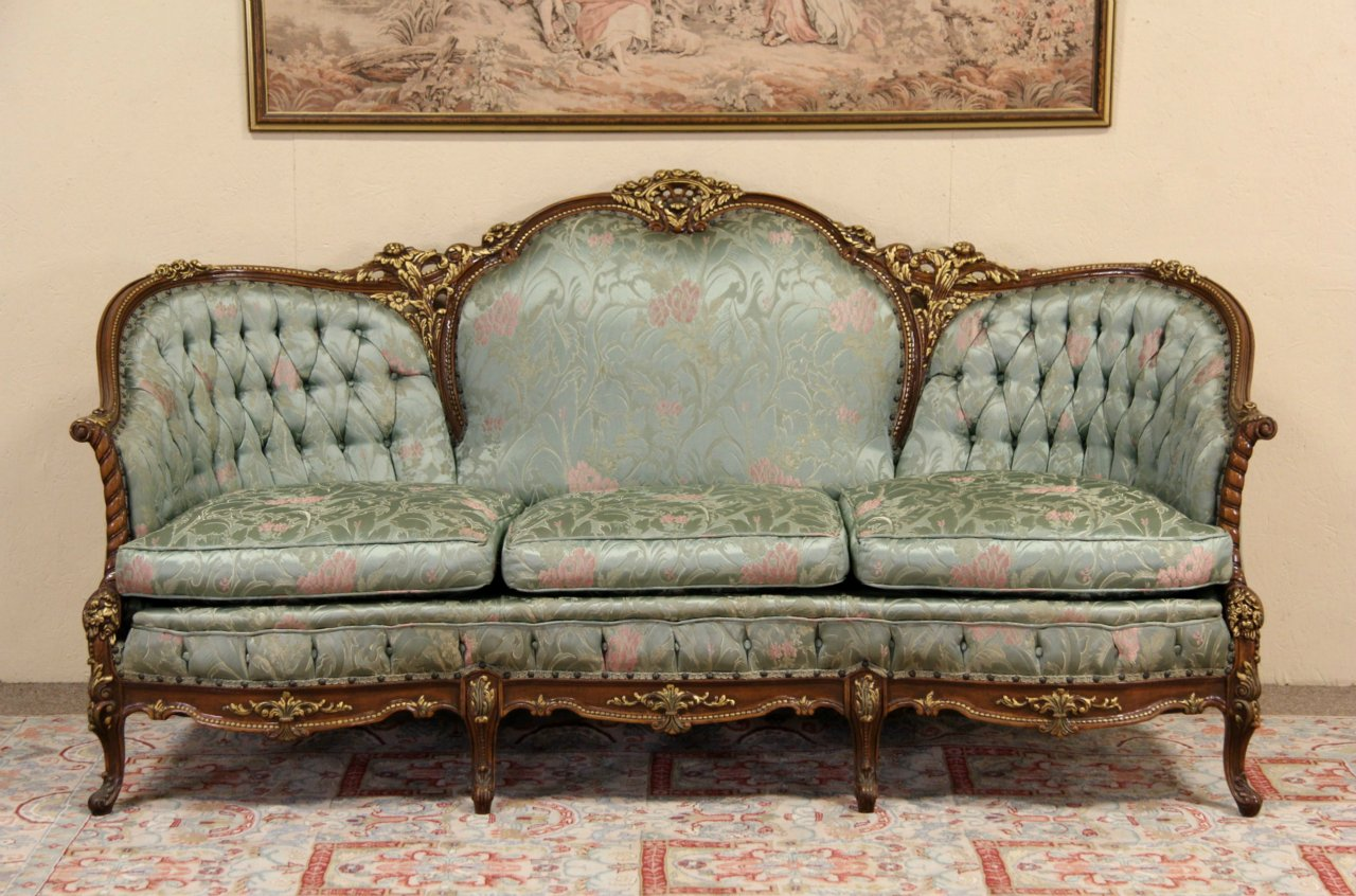 sold french style carved 1940 39 s vintage sofa original harp gallery. Black Bedroom Furniture Sets. Home Design Ideas