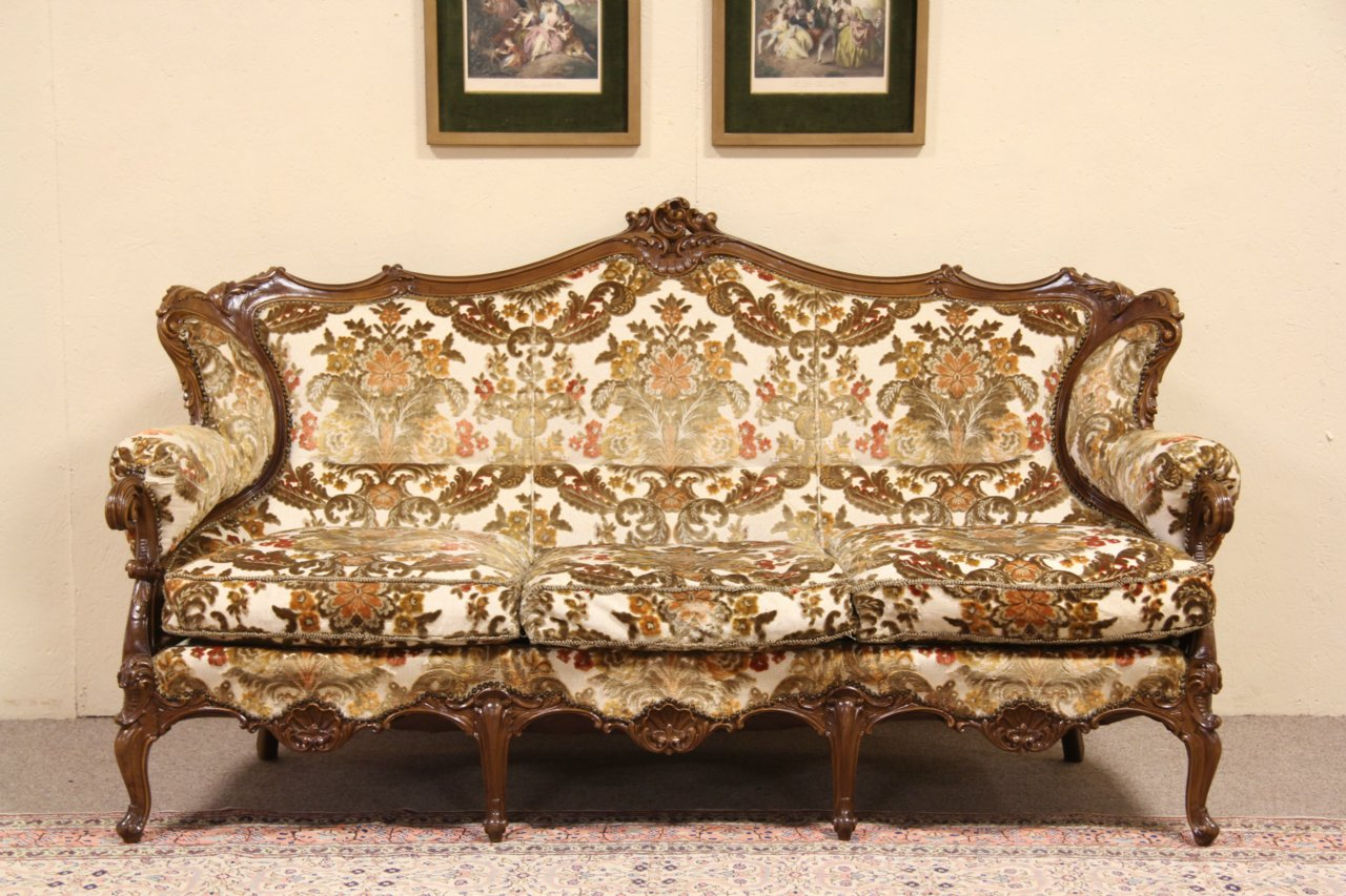 Baroque Carved Vintage Italian Sofa ... - SOLD - Baroque Carved Vintage Italian Sofa - Harp Gallery Antique